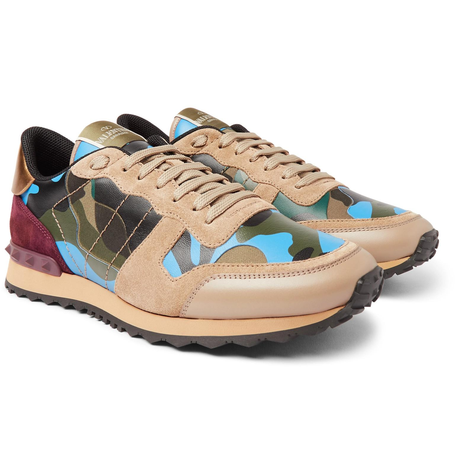 3b8485f2a5d67 Valentino Garavani Rockrunner Camouflage-print Canvas, Leather And ...