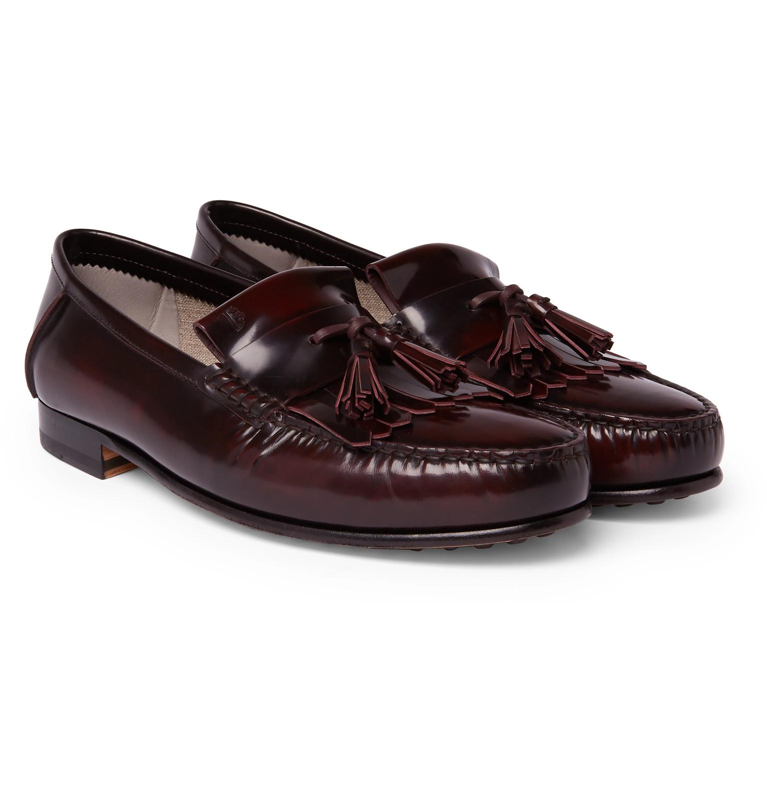 Free Shipping Pick A Best College Polished-leather Kiltie Loafers Tod's Amazon Z4oKIMYv
