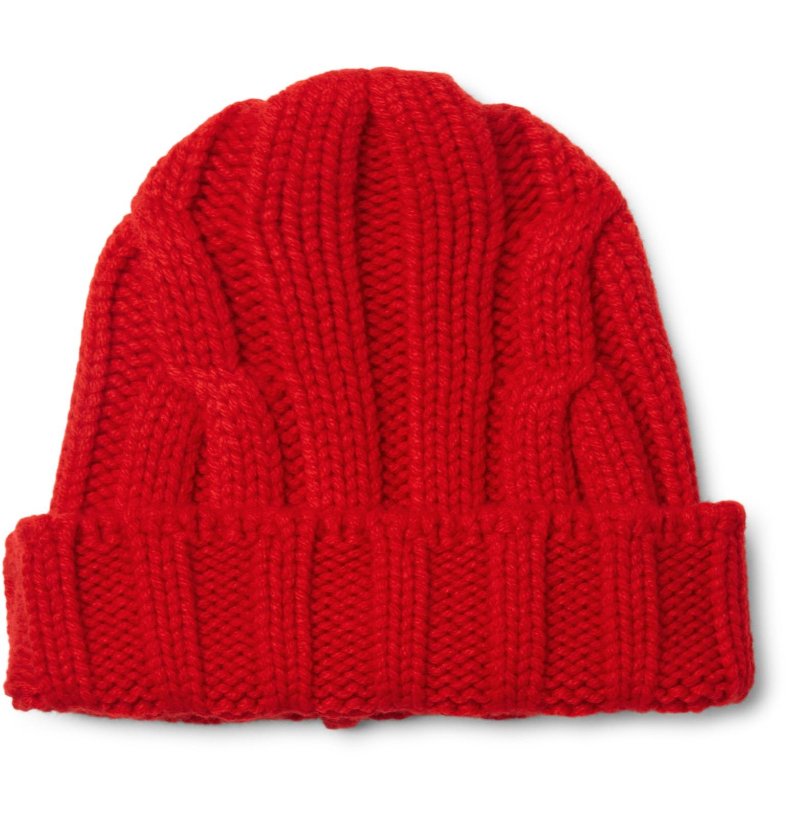 8c0fe7c3422fe CONNOLLY Ribbed Merino Wool And Cashmere-blend Beanie in Red for Men ...