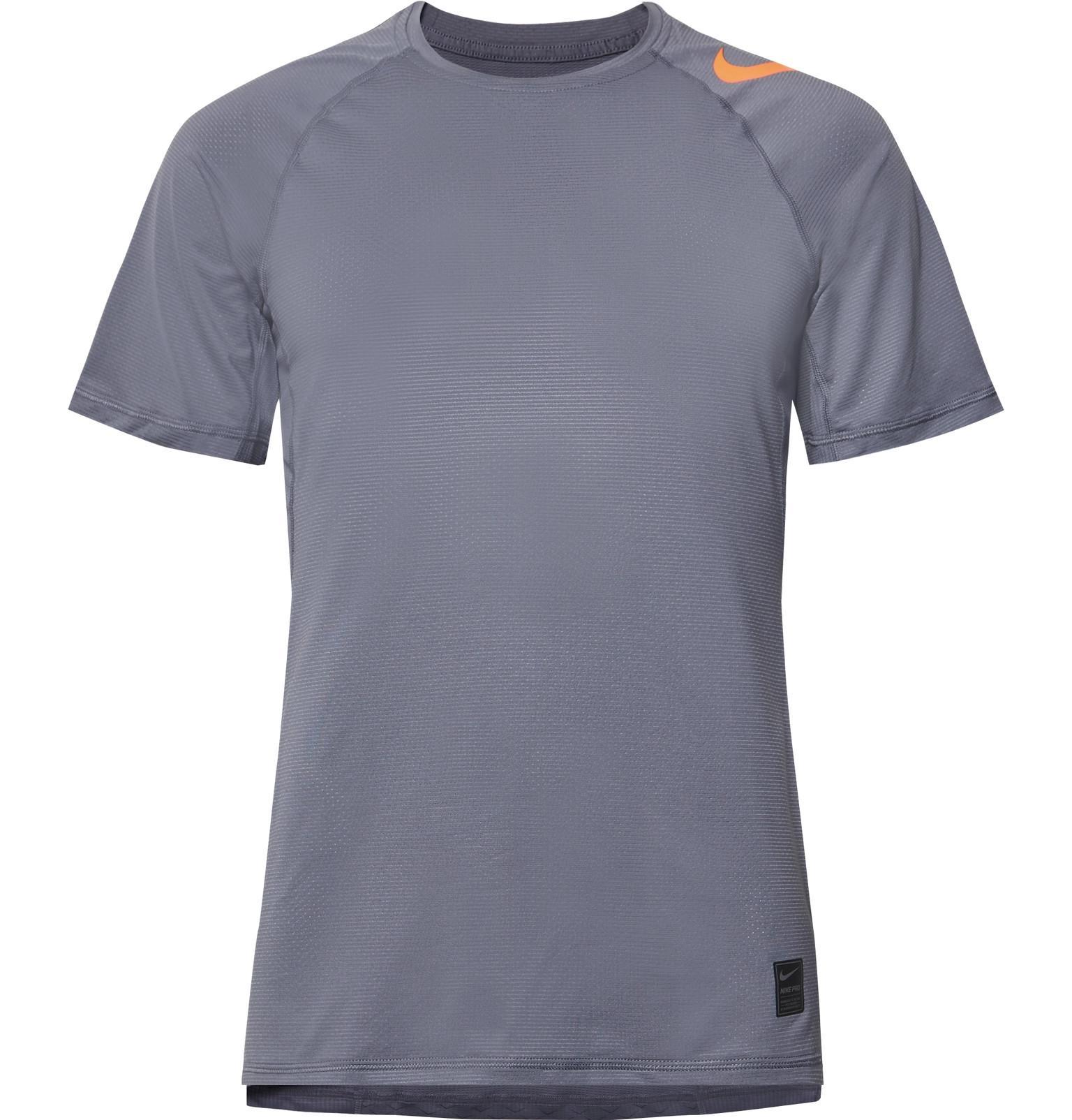 best service 992b7 38539 nike-gray-Pro-Hypercool-Mesh-panelled-Stretch-jersey-T-shirt.jpeg