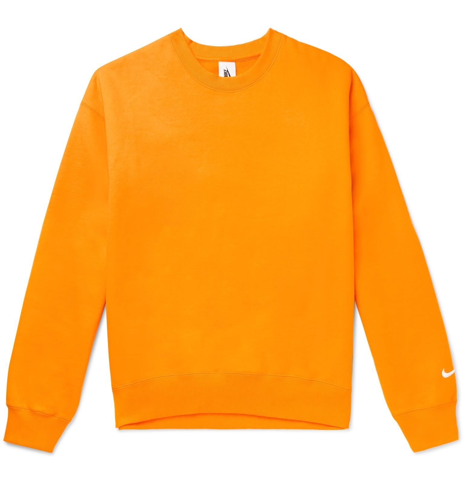 430a39028 Nike Fleece-back Cotton-blend Sweatshirt in Orange for Men - Lyst