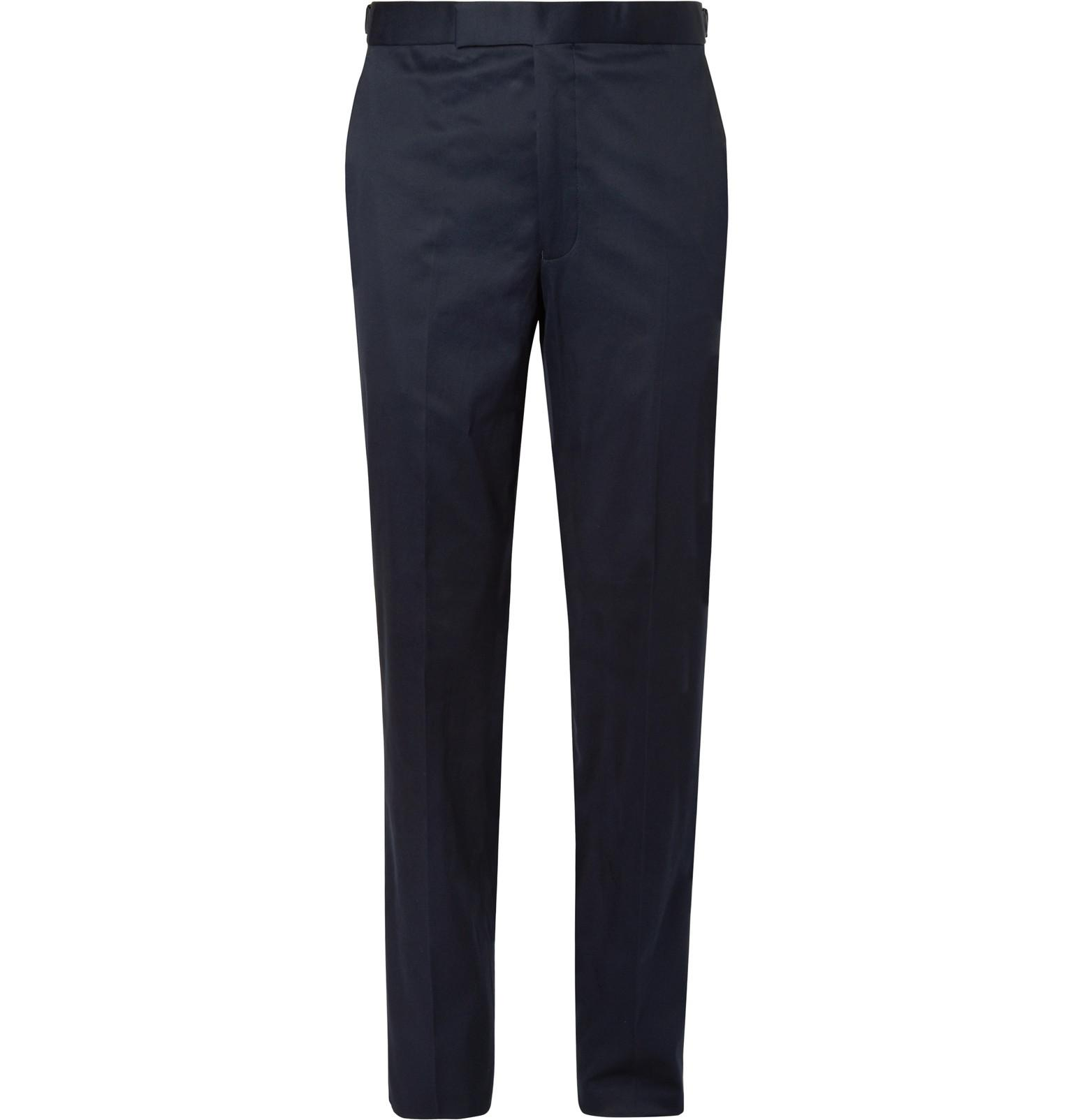 Navy Hyde Slim-fit Stretch-cotton Twill Suit Trousers Richard James TMfAyB