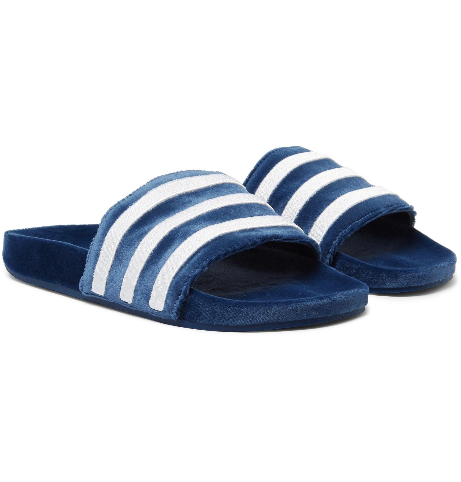 96f1050084b94 Lyst - adidas Originals Adilette Striped Velvet Slides in Blue for Men