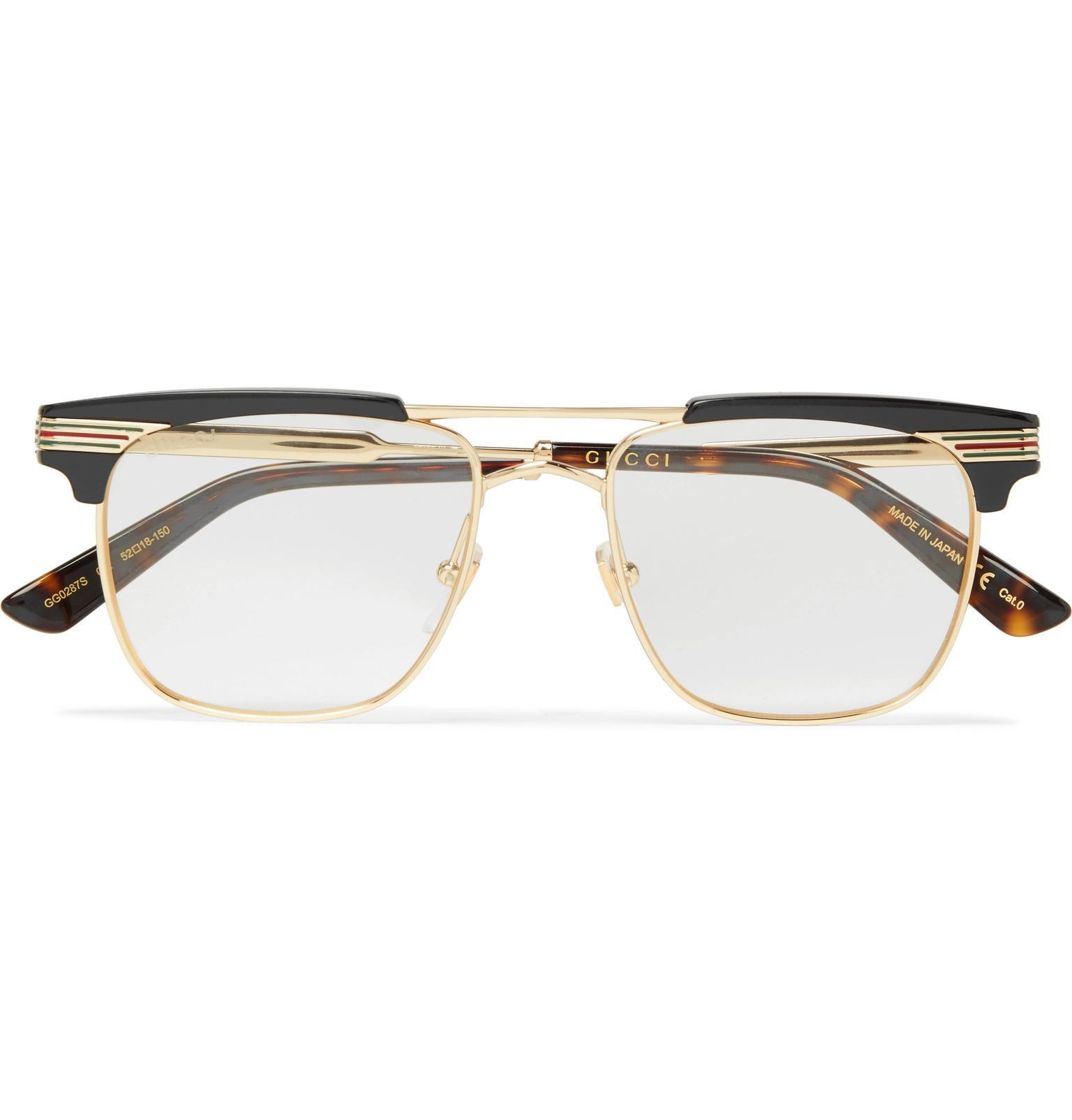 6c0c1f0777 Lyst - Gucci Endura Square-frame Gold-tone And Acetate Optical ...
