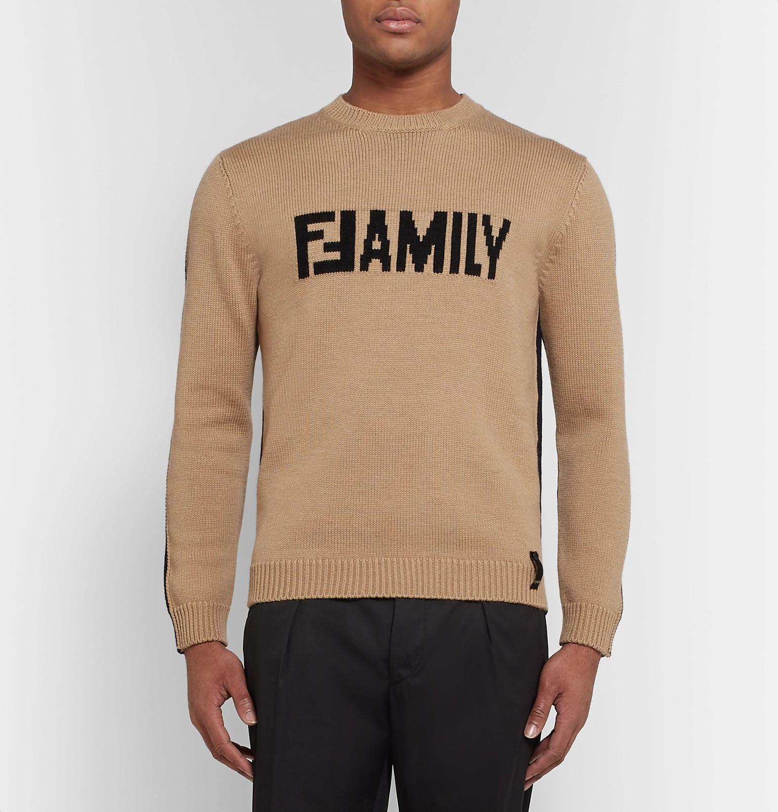Sweater Wool Sand intarsia Fendi Logo Virgin EqWzvPPtYw