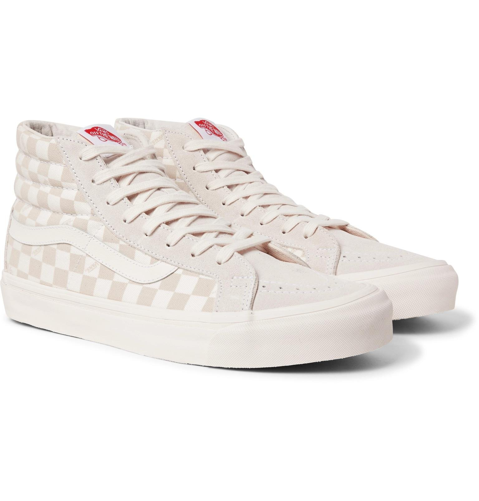 8b2870e0e79cf7 Vans Beige Sk8-hi Lx Checkerboard Leather And Canvas High-top ...