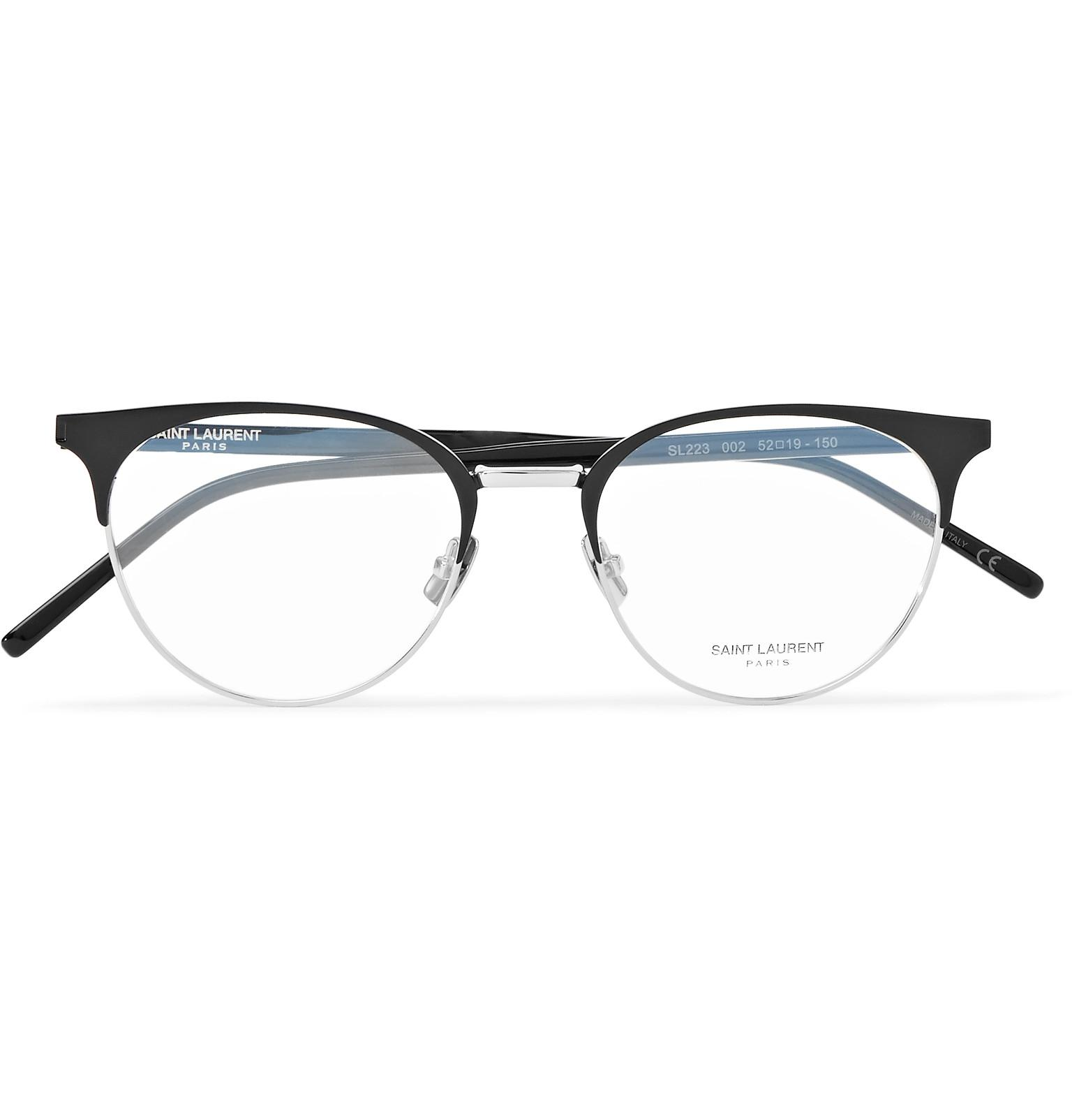 e3c96b6481 Saint Laurent Round-frame Acetate And Silver-tone Optical Glasses in ...