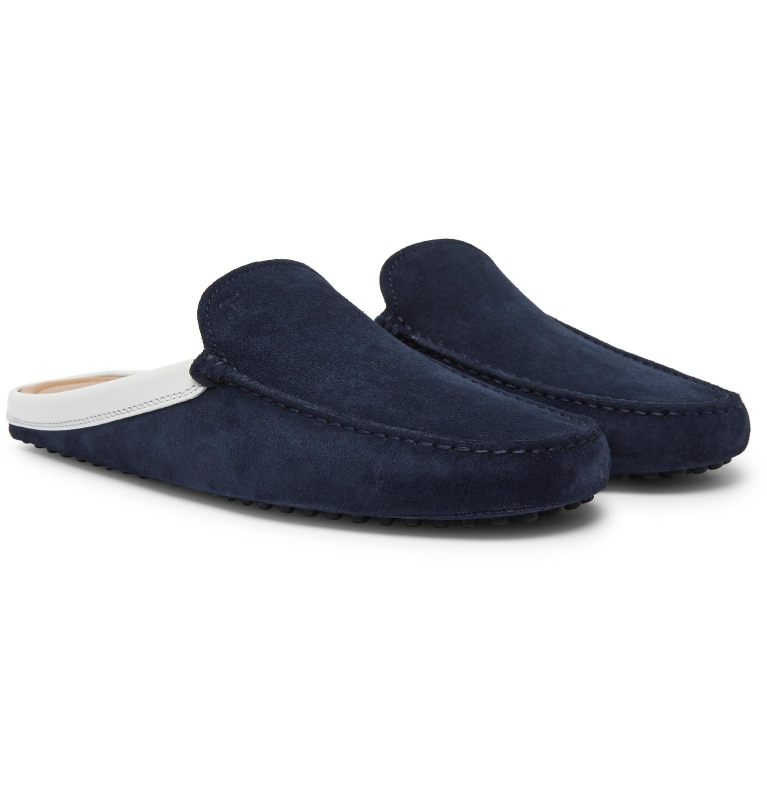 super popular a6813 6b605 Backless In Tod s Men Leather Lyst Blue Suede Trimmed Loafers For dSIvWwYq
