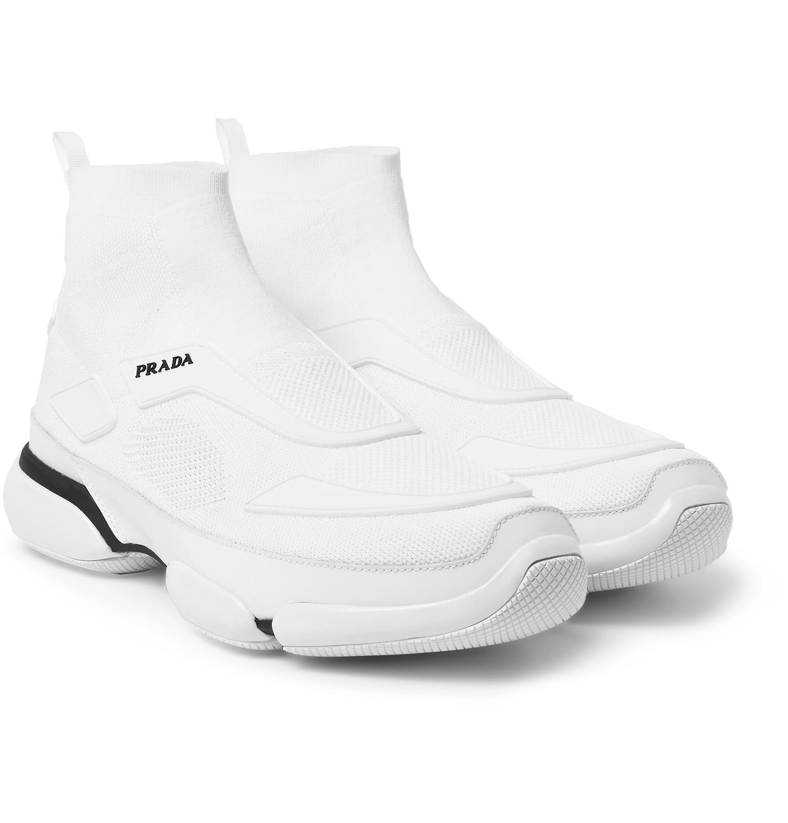 6bb3057850e2 Prada Cloudbust Stretch-knit And Rubber High-top Slip-on Sneakers in ...