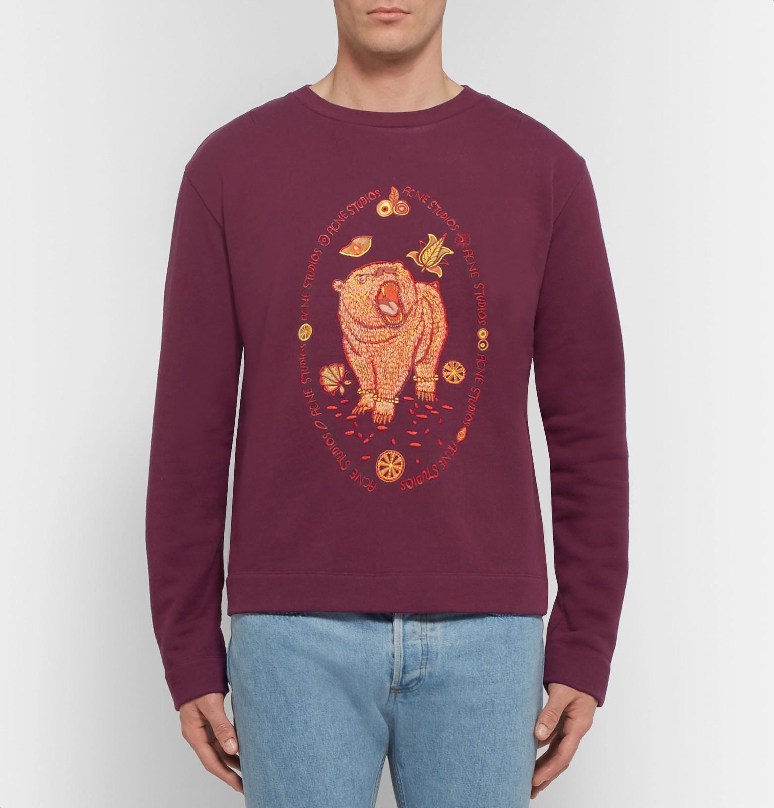 Acne bordado Bear Loopback de E jersey Studios camiseta algodón Oslavi SZqw8Fgvv