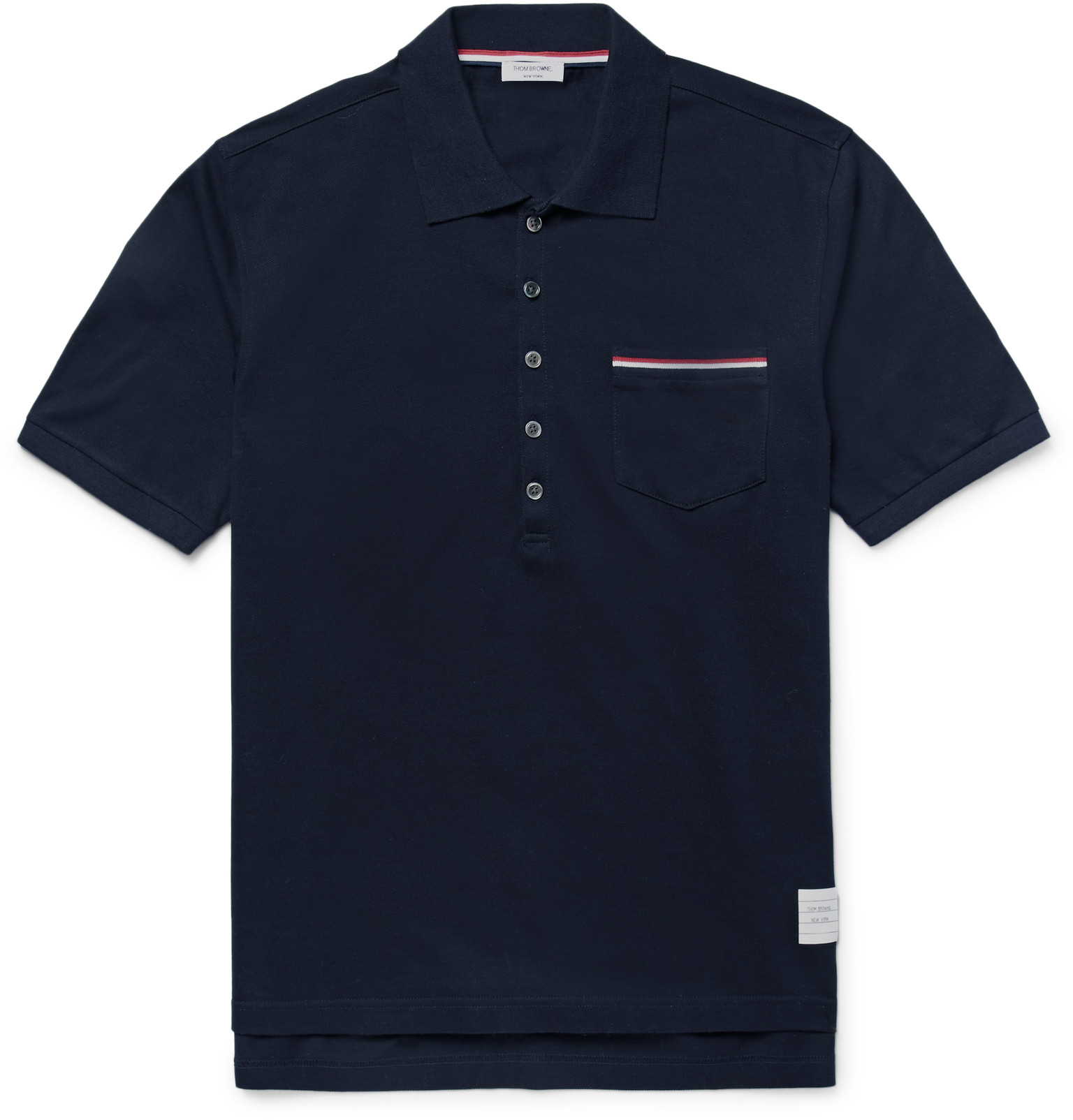 Thom Browne Slim Fit Cotton Piqu Polo Shirt In Blue For
