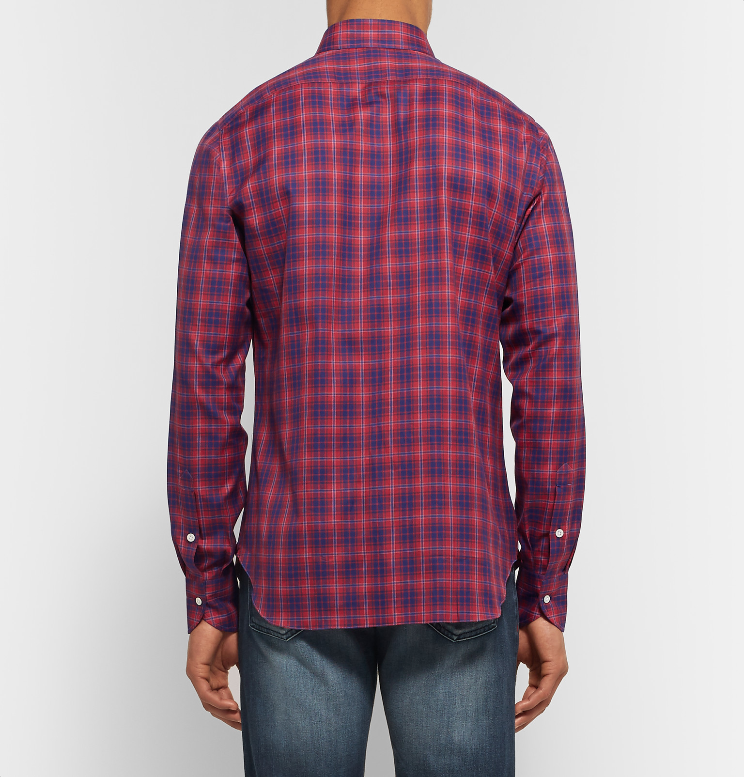 Isaia Slim Fit Button Down Collar Checked Cotton Shirt In