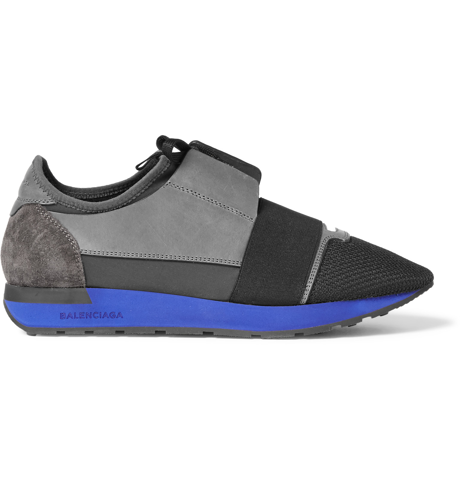 balenciaga panelled leather mesh and neoprene sneakers in gray for men lyst. Black Bedroom Furniture Sets. Home Design Ideas