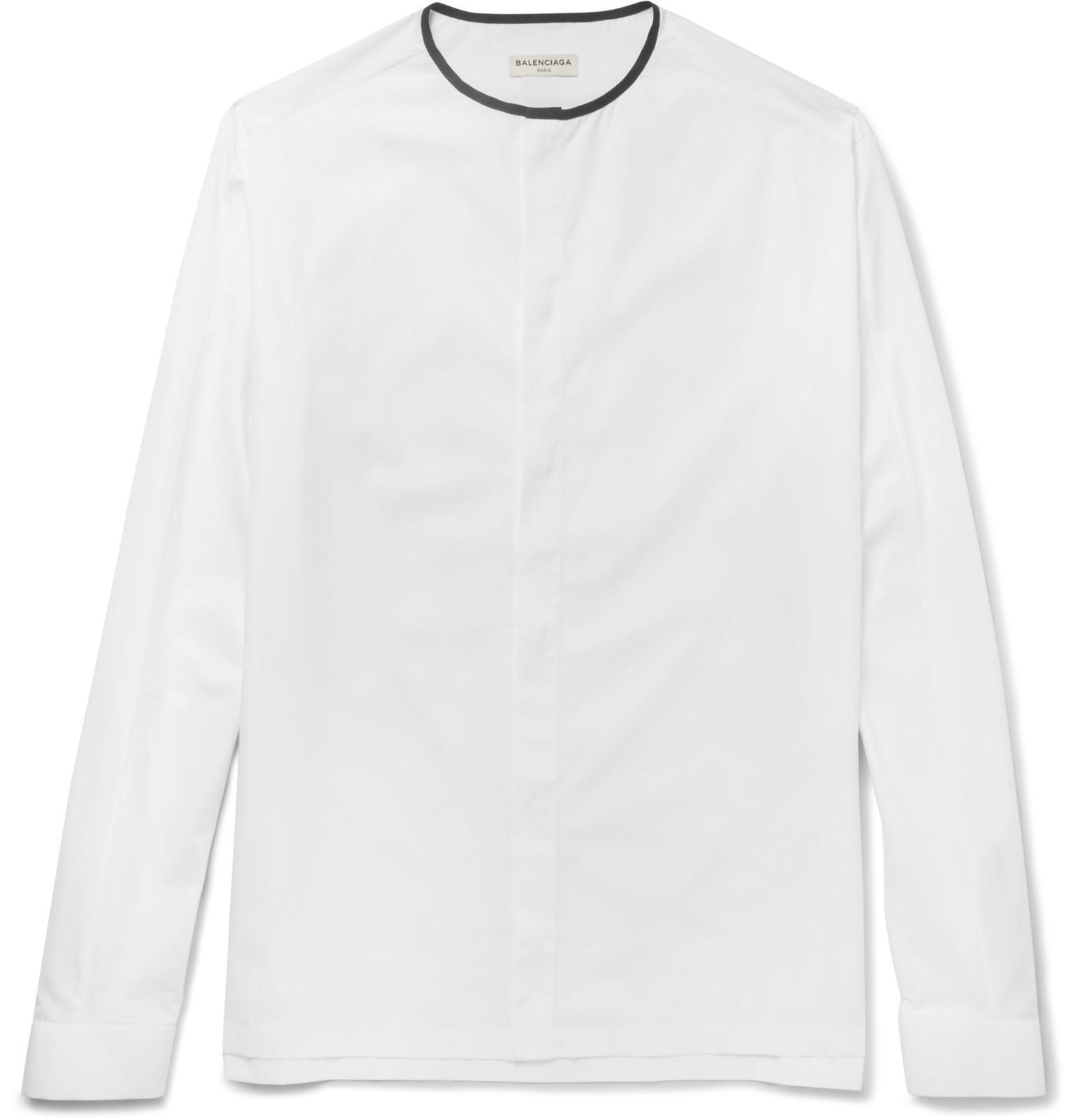 balenciaga slim fit collarless cotton poplin shirt in