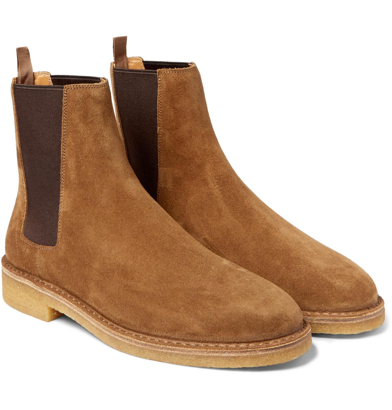 ea6afb3829626 Lyst - Saint Laurent Cigar Suede Chelsea Boots in Brown for Men