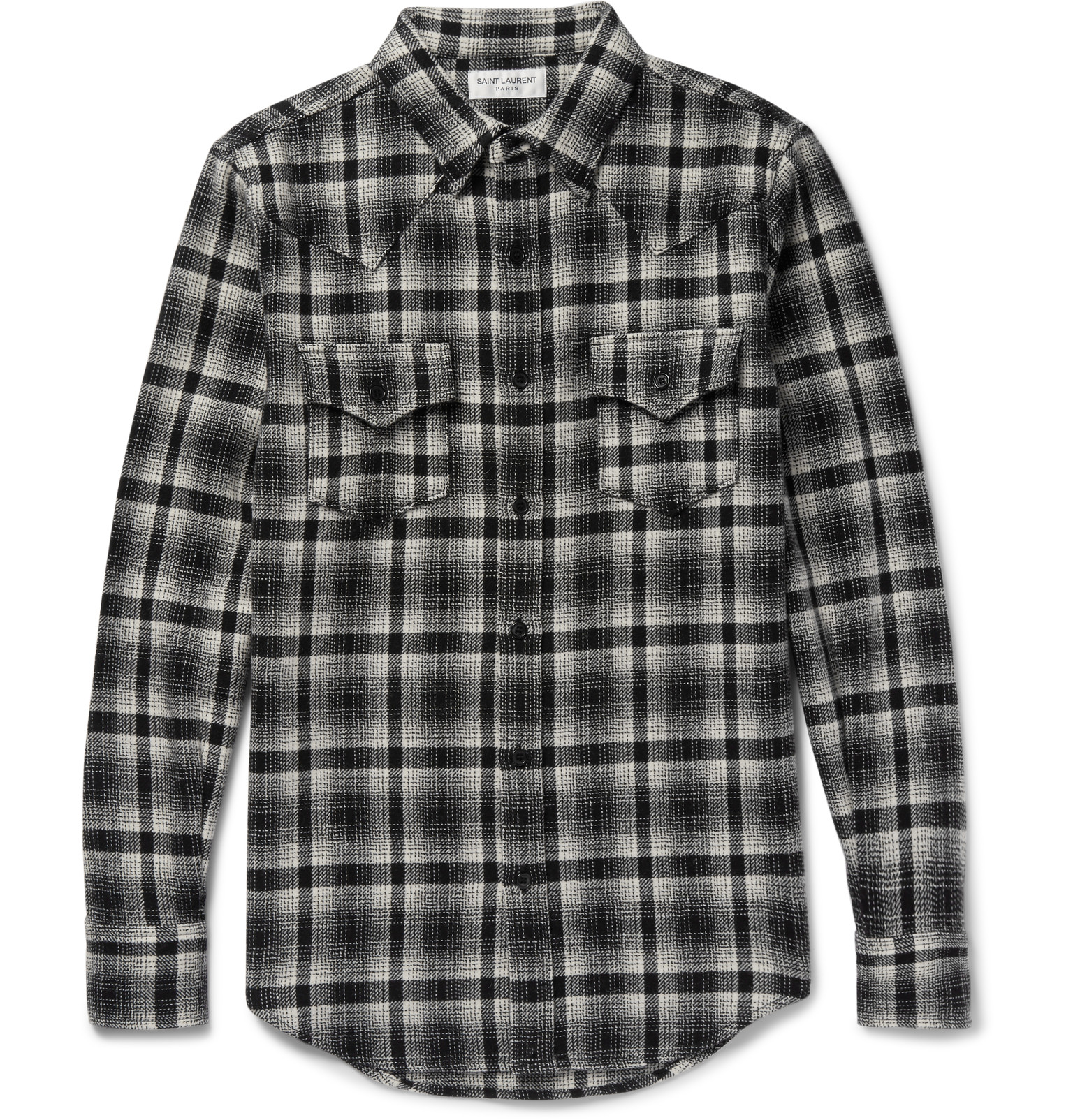 Saint laurent slim fit checked wool blend flannel western for Women s slim fit flannel shirt