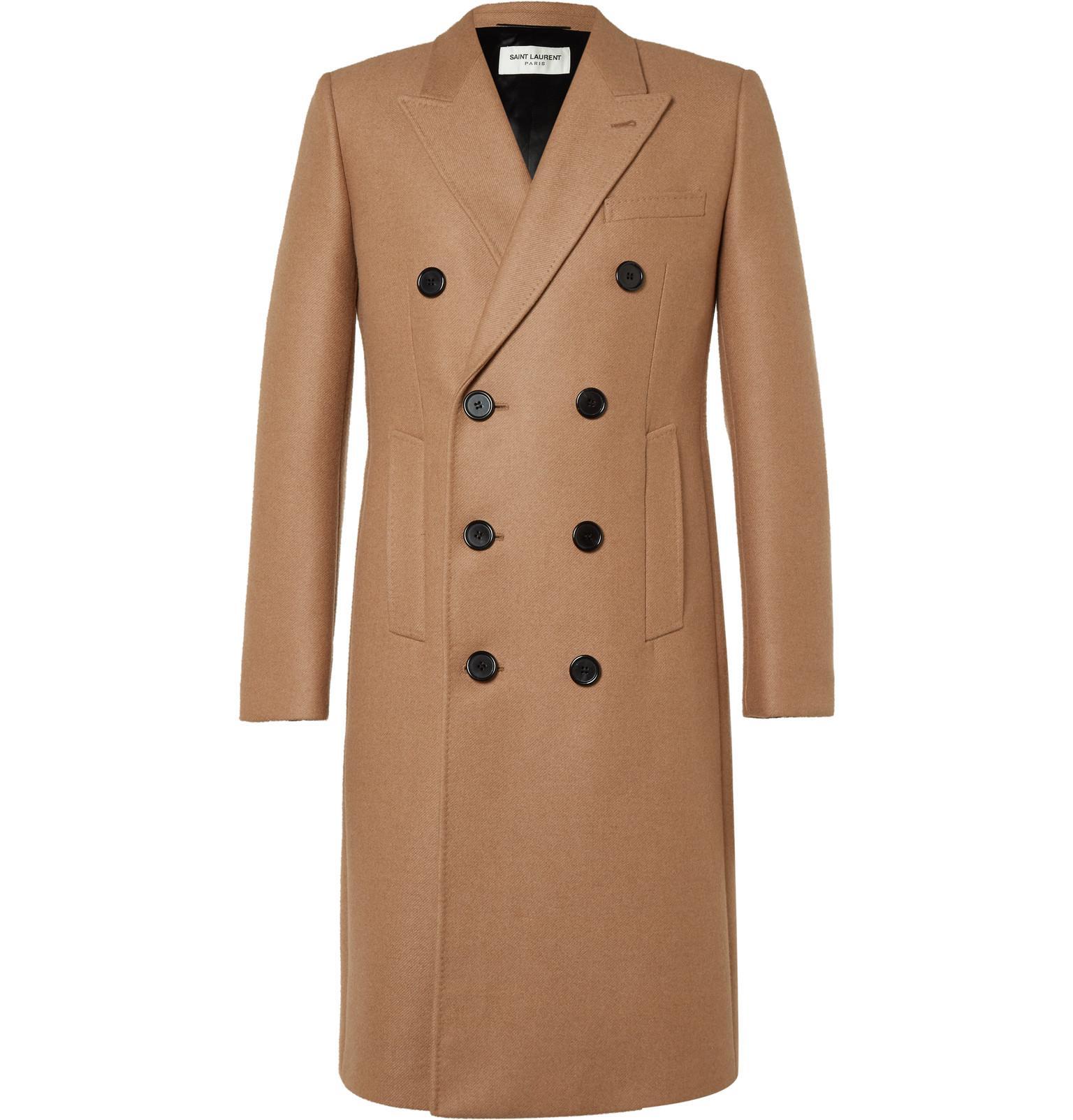Saint laurent Velvet-collar Camel Hair-blend Overcoat in ...