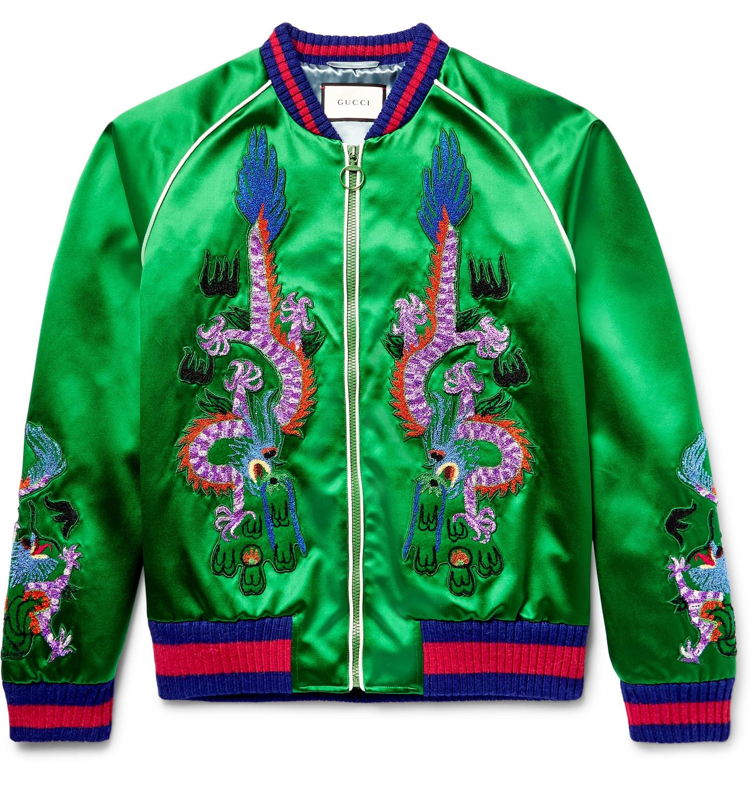 gucci appliqu d silk satin bomber jacket in green for men