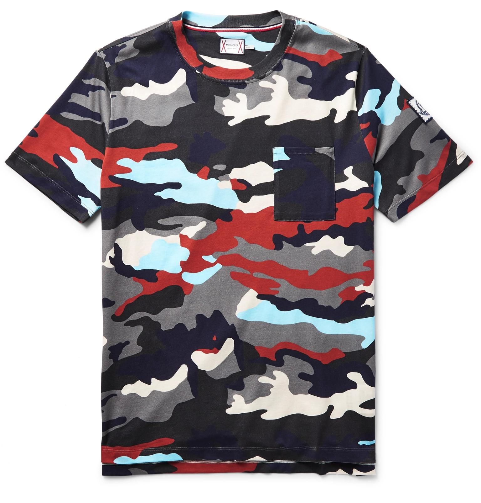 Moncler gamme bleu camouflage print cotton jersey t shirt for Camouflage t shirt printing