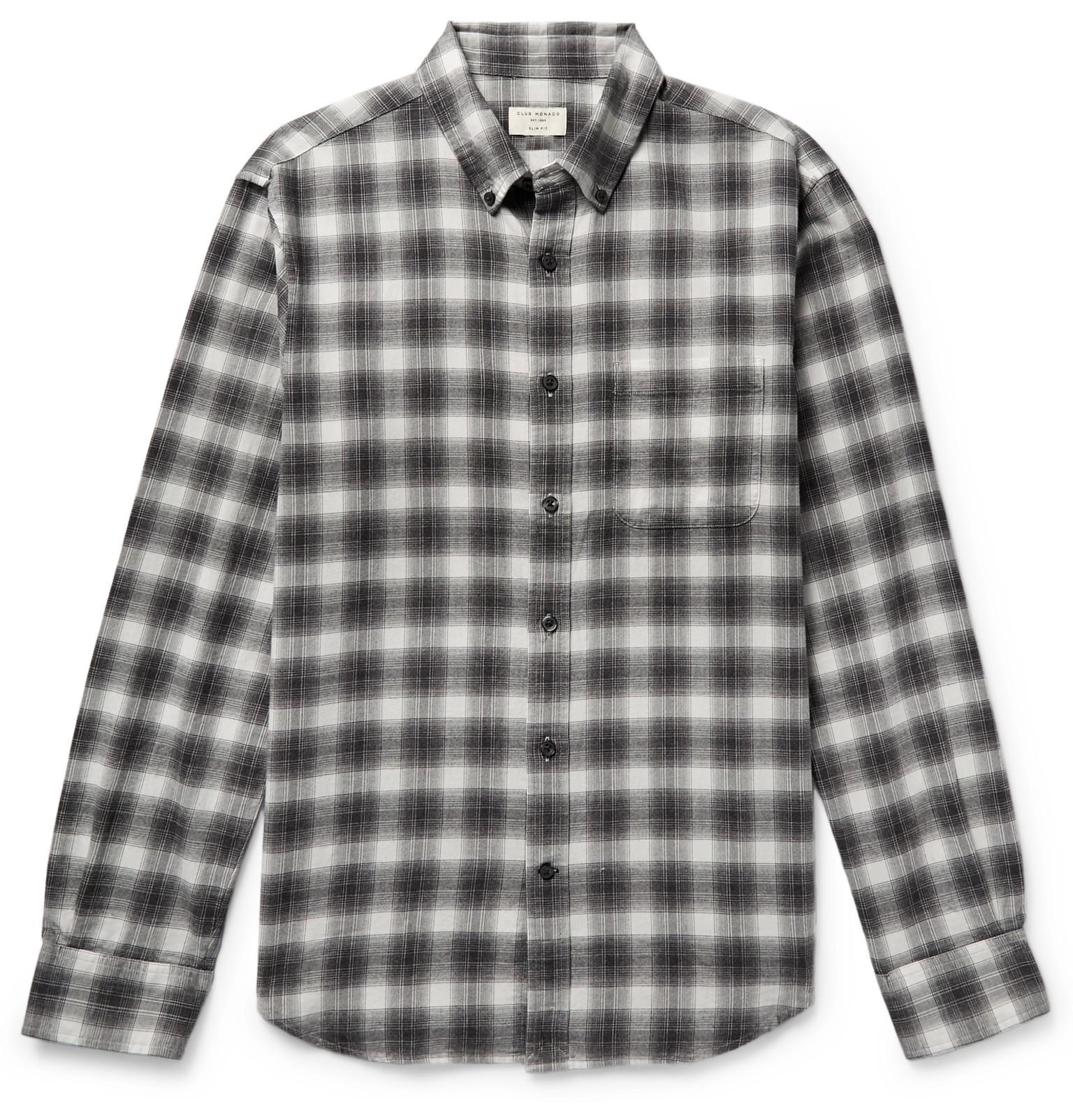 09a96d13a4c Lyst - Club Monaco Button-down Collar Checked Cotton-flannel Shirt ...