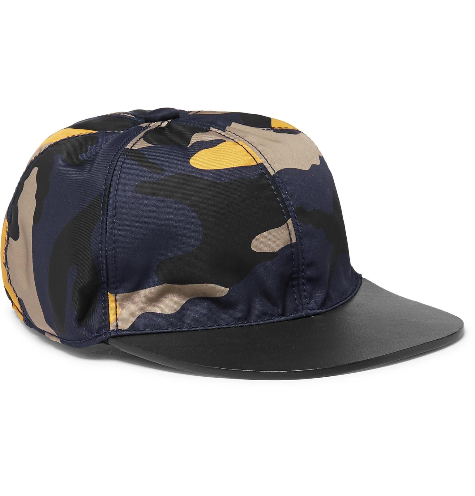 Shell Camuflaje-impresión Y Cuero Valentino Gorra De Béisbol MOXBOg8J5o