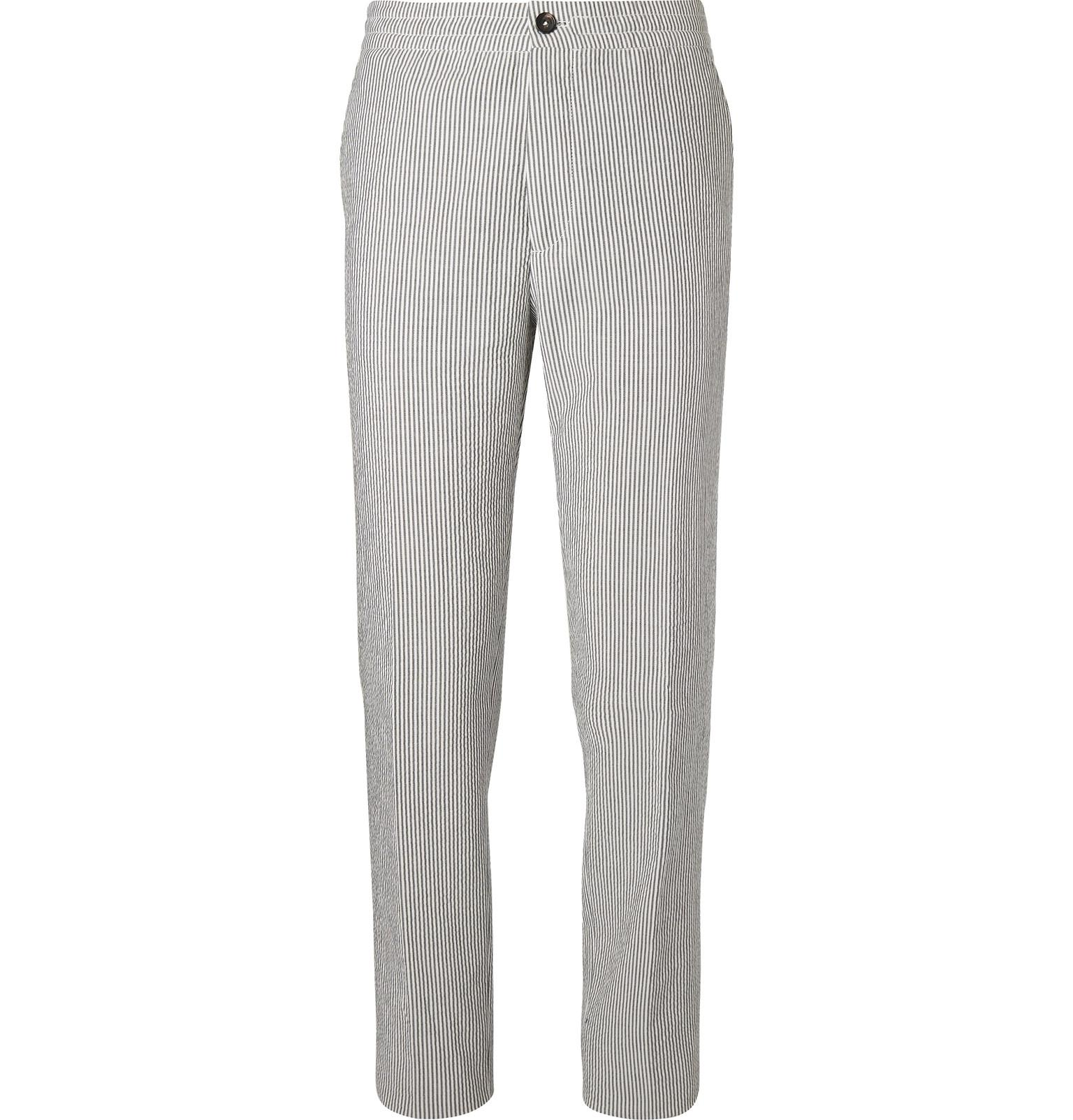 Grey Striped Cotton-seersucker Drawstring Suit Trousers Ermenegildo Zegna iTYuFba