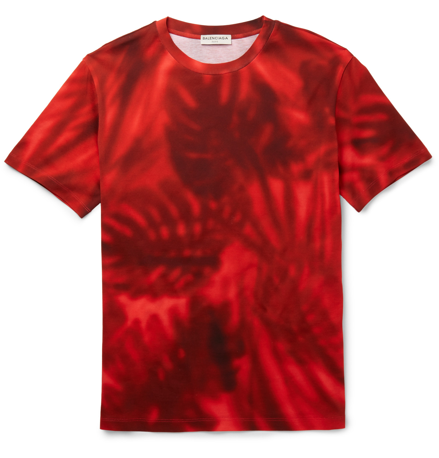Balenciaga Slim Fit Printed Cotton Jersey T Shirt In Red