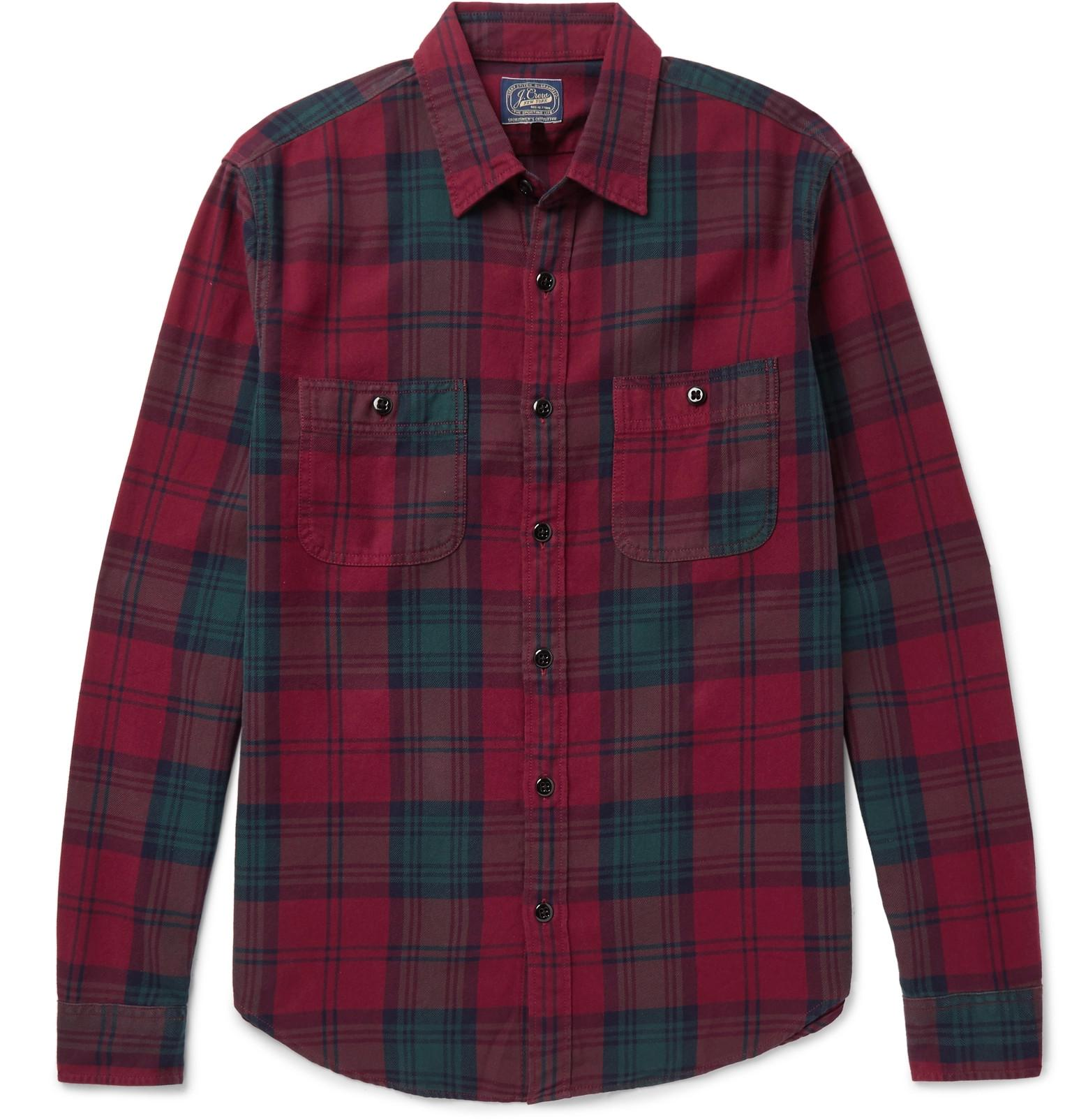 Lyst J Crew Plaid Cotton Flannel Shirt In Blue For Men