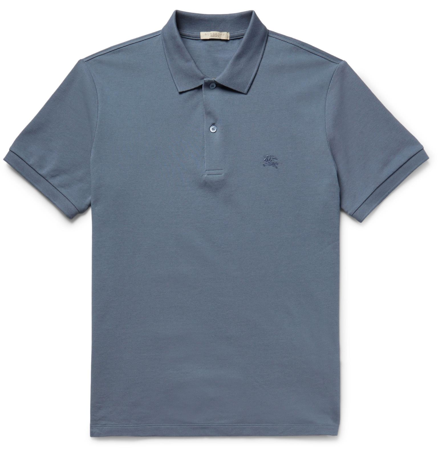 Burberry Brit Slim Fit Cotton Piqu Polo Shirt In Blue For