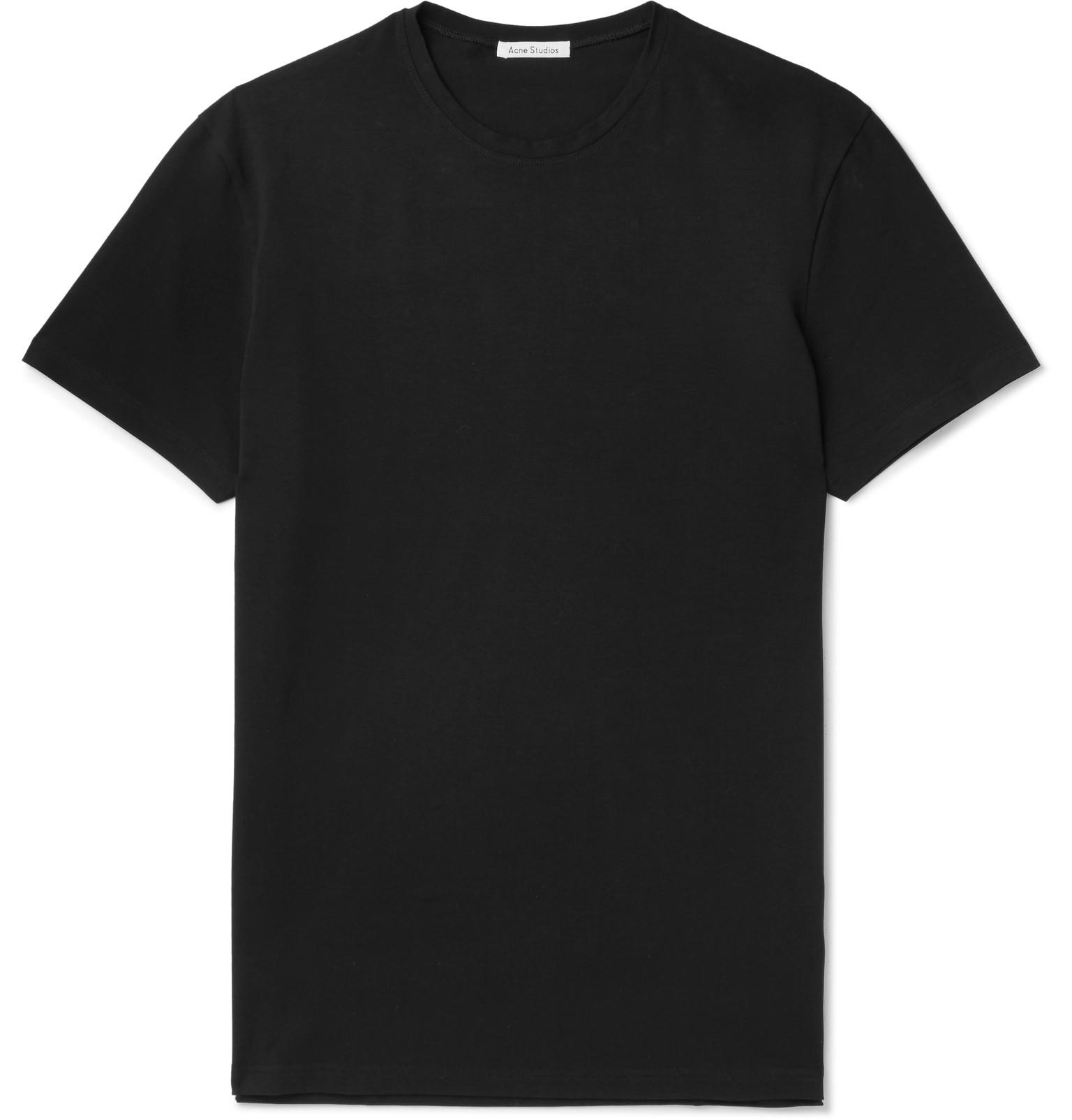 detailed look e1710 4012a acne-black-Edvin-Stretch-cotton-Jersey-T-shirt.jpeg