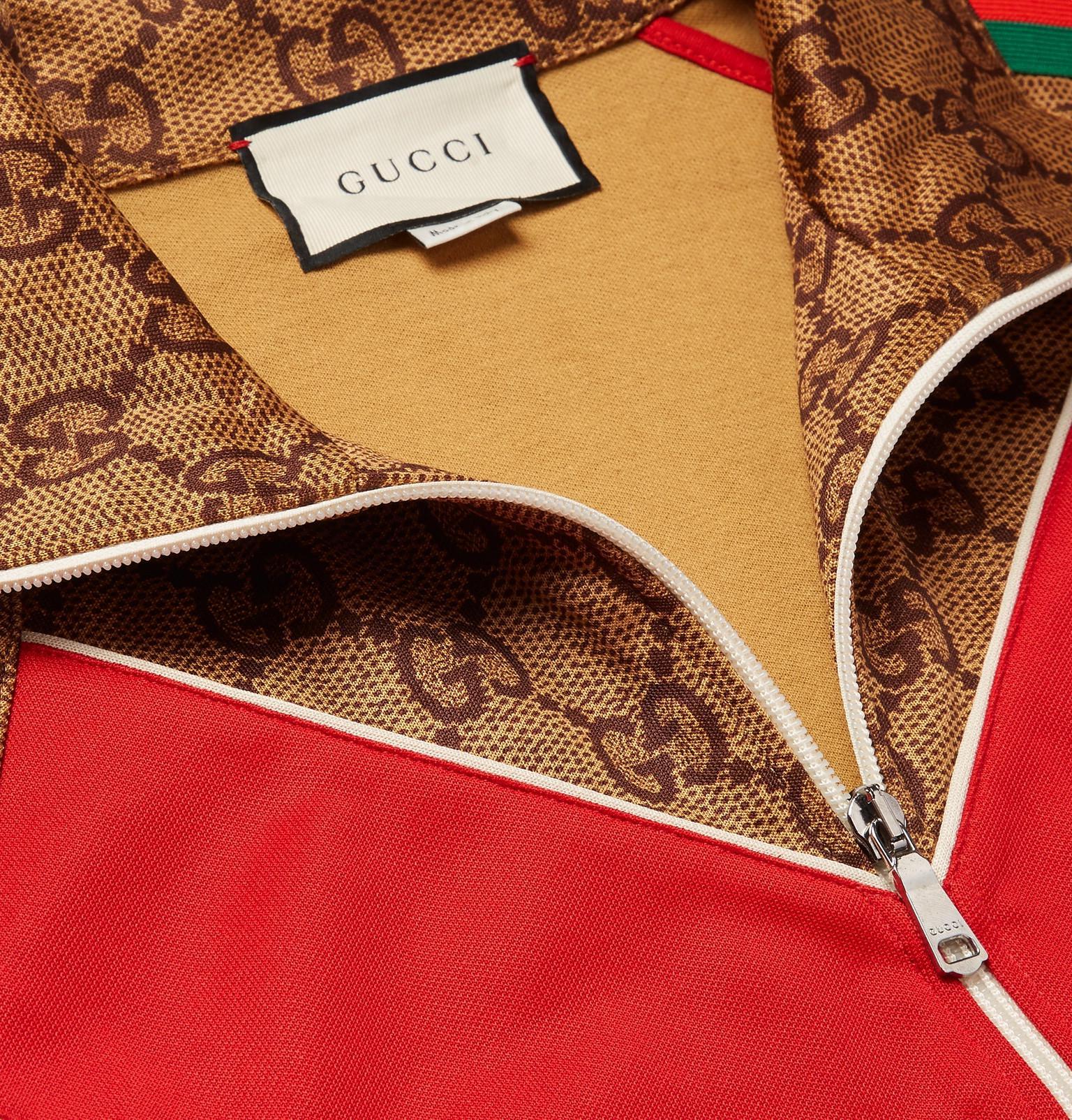 d4ba7243174 Gucci - Brown Oversized Webbing-trimmed Logo-print Tech-jersey Track Jacket  for. View fullscreen