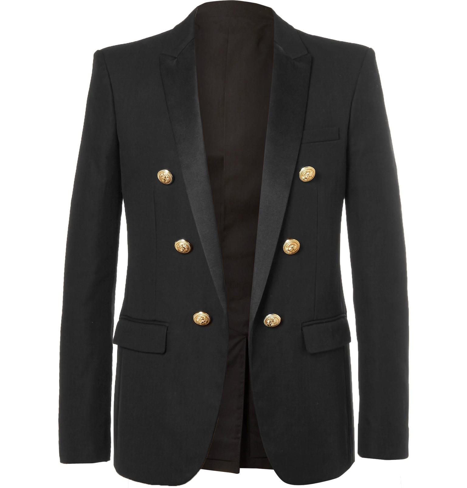 Balmain Black Slim Fit Double Breasted Cotton Blazer In