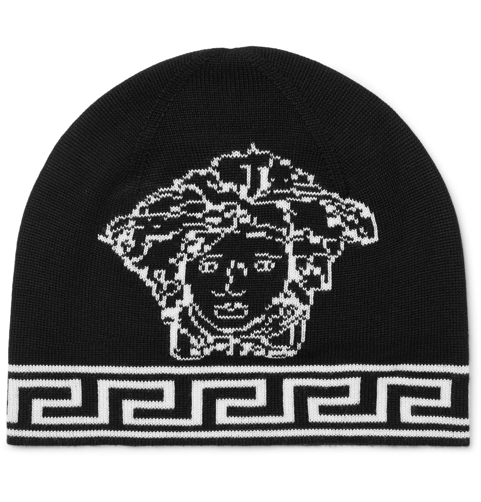 c7d98edaf9542 Lyst - Versace Medusa Intarsia Beanie in Black for Men - Save 36%