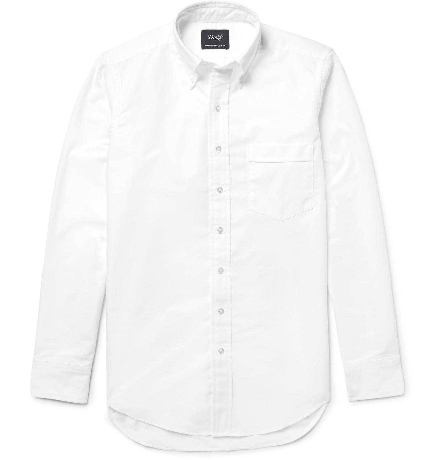 Drake 39 s button down collar cotton oxford shirt in white for White button down collar oxford shirt