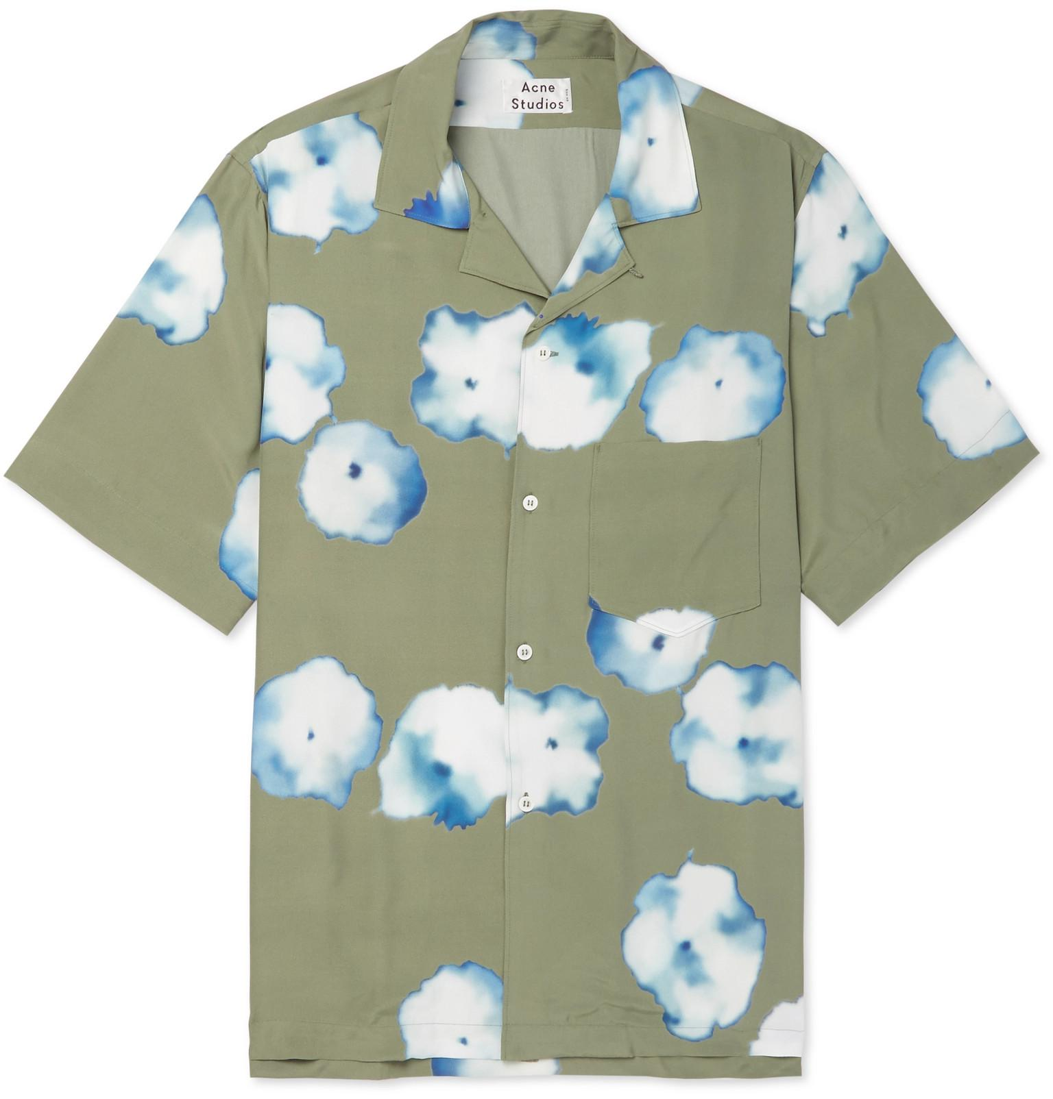 6ffaf6d661 Lyst - Acne Studios Elms Camp-collar Printed Satin Shirt in Green ...