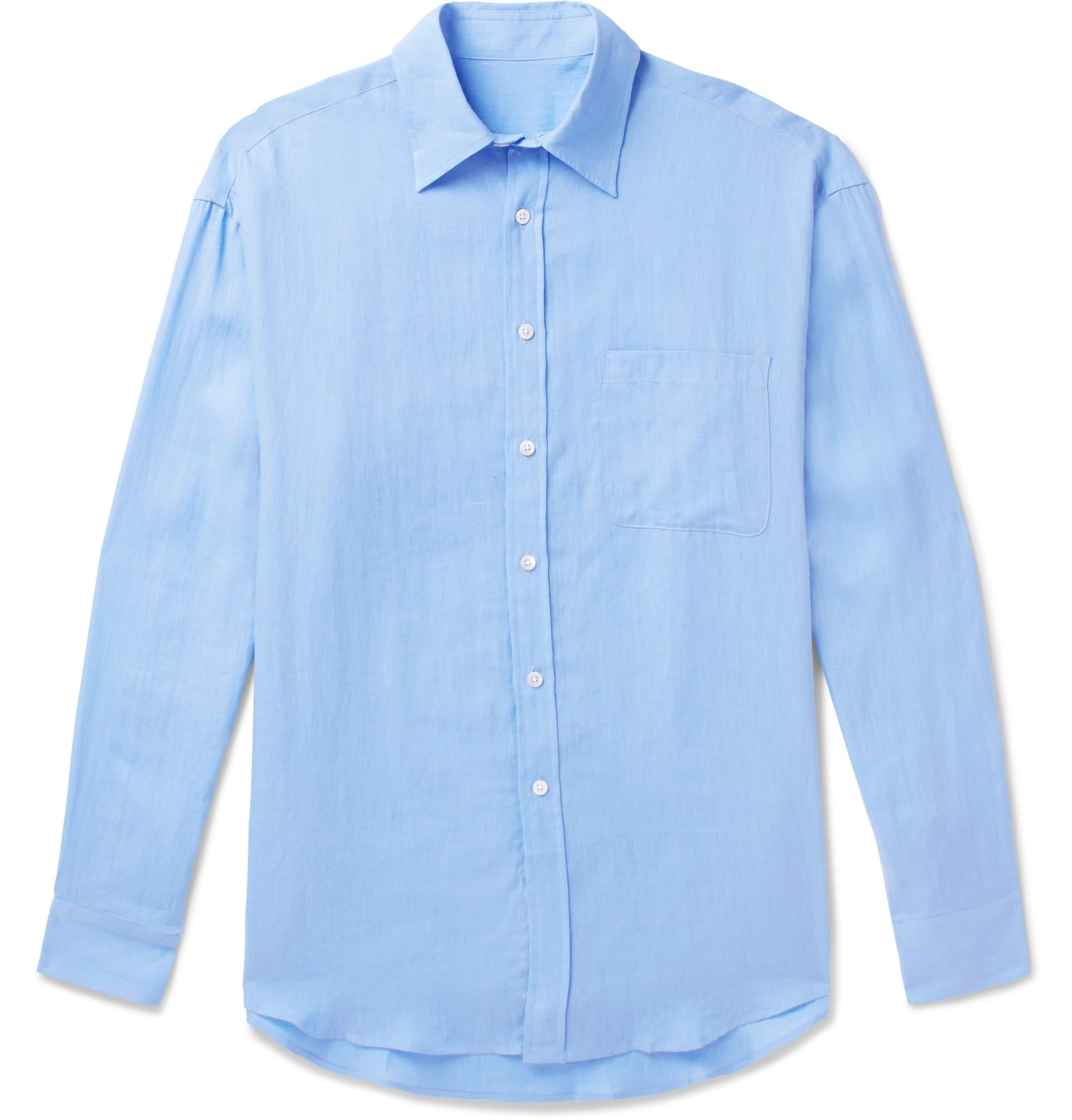 Anderson & Sheppard Linen Shirt - Blue Clearance Best Prices HKp8oM5