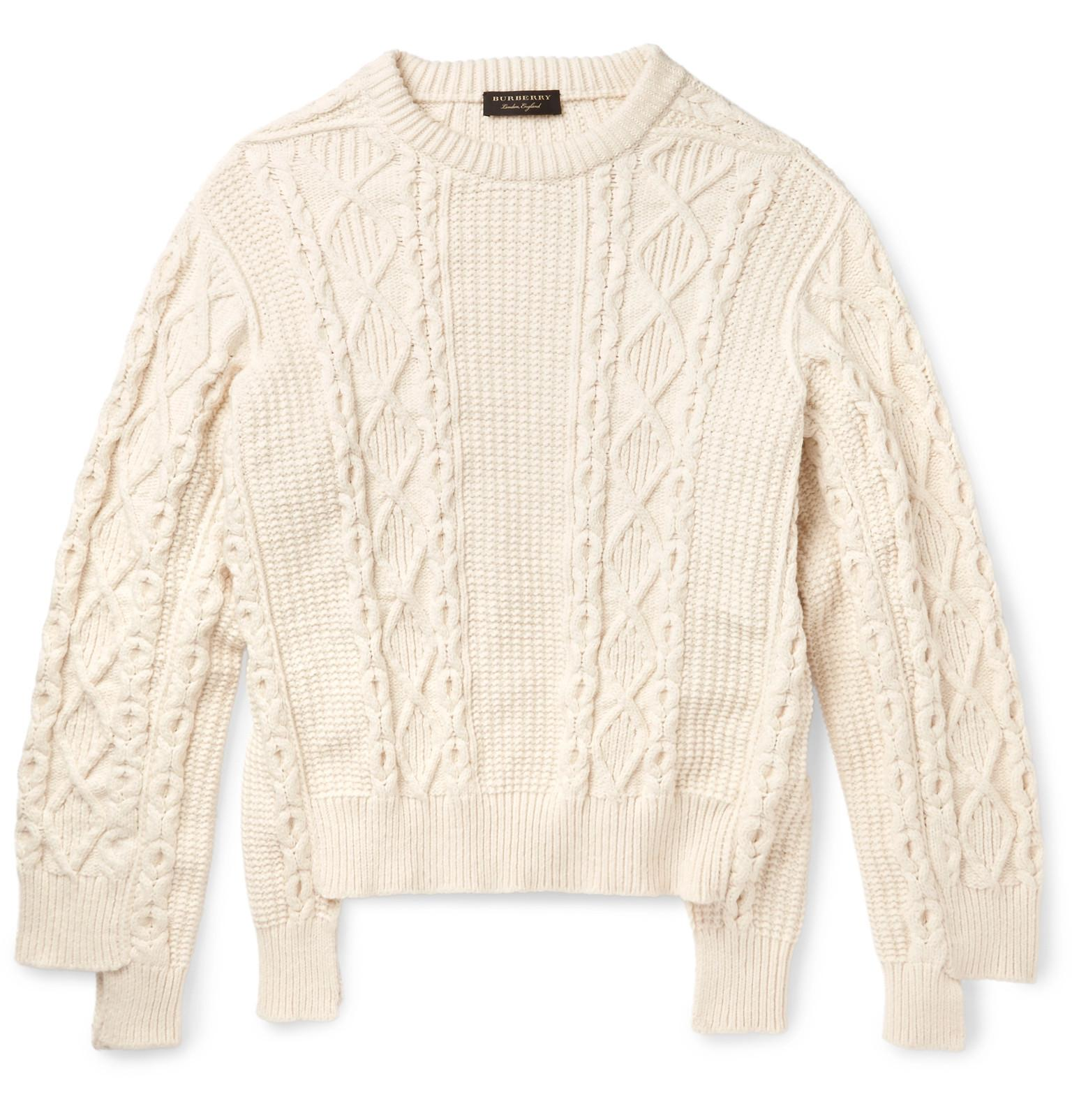 Burberry Runway Oversized Cable-knit Cotton-blend Sweater in ...