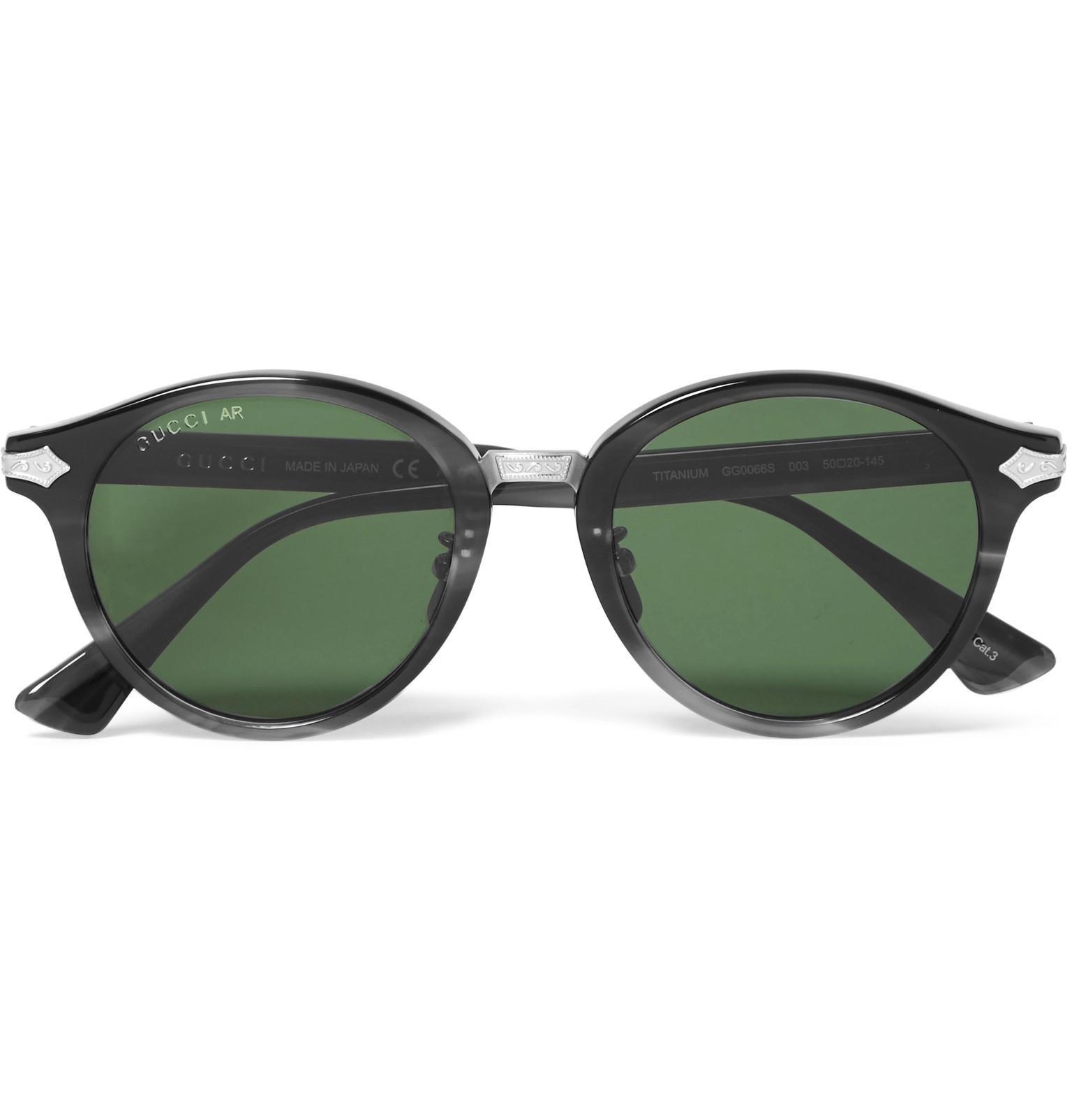 e15650a698 Gucci Round-frame Acetate And Titanium Sunglasses in Green for Men