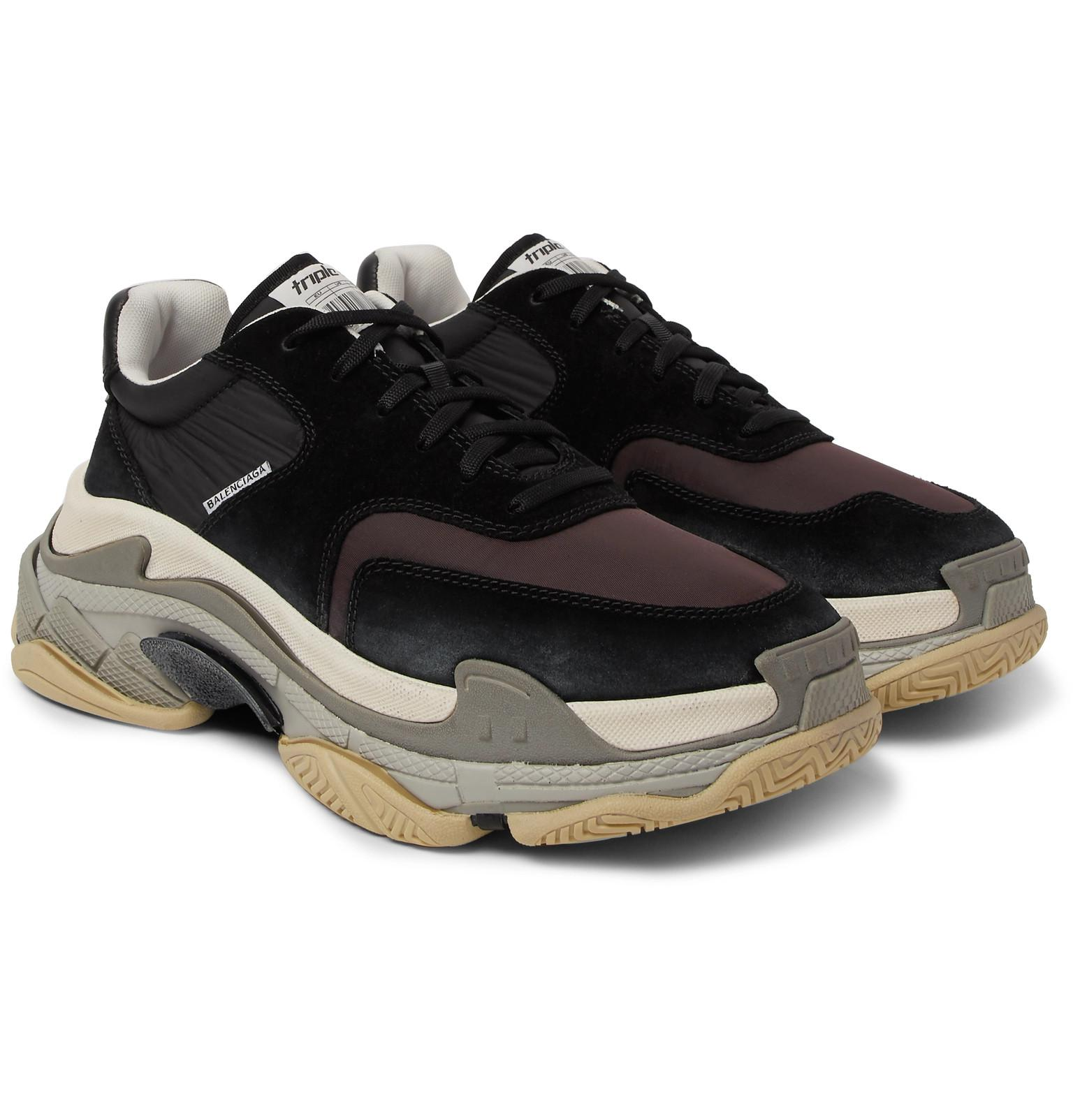 8f7e6b816 Balenciaga Triple S Nylon, Mesh, Suede And Leather Sneakers in Black ...