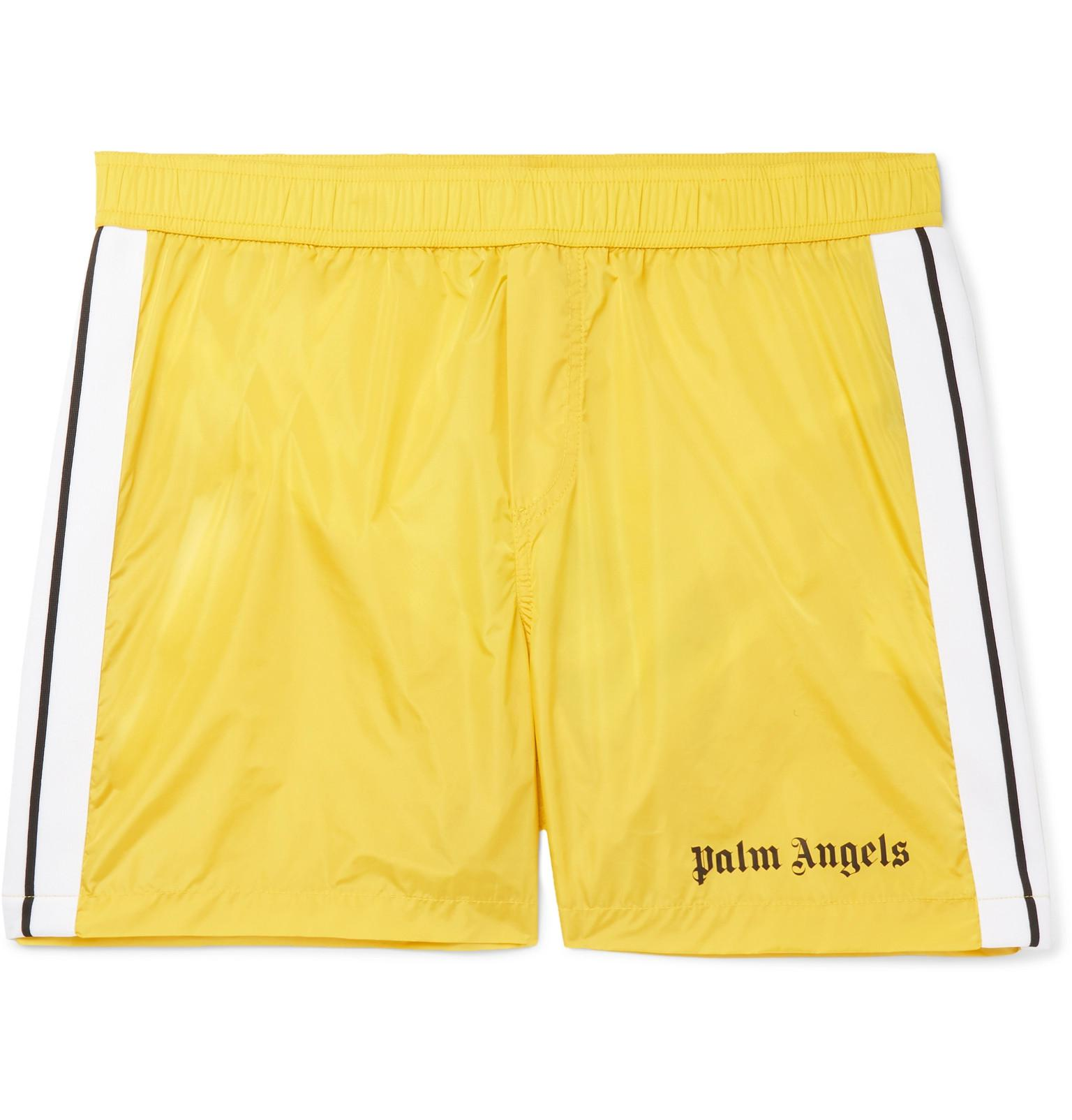 571425a38d Palm Angels - Yellow Mid-length Striped Swim Shorts for Men - Lyst. View  fullscreen