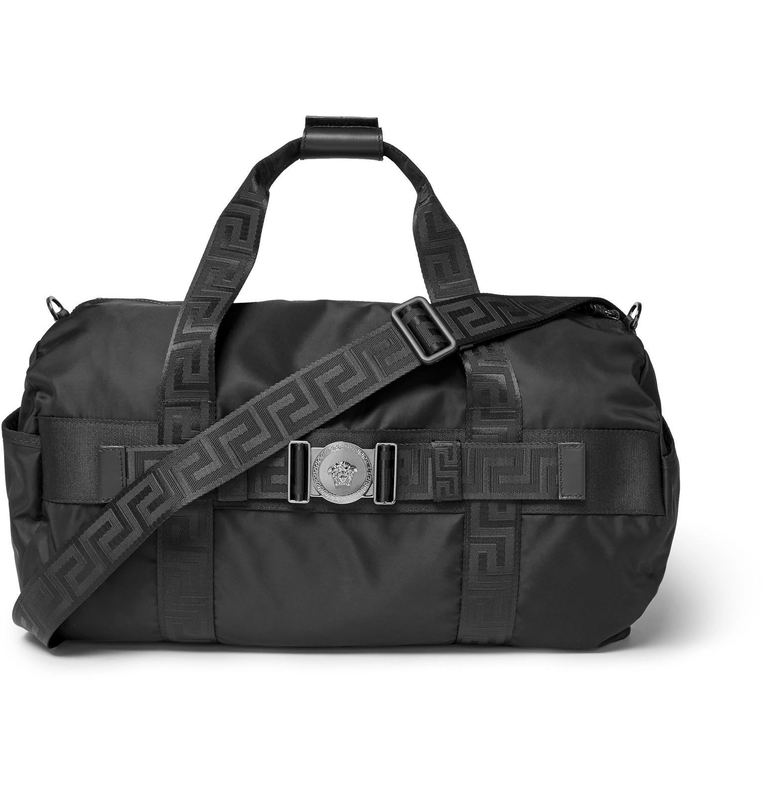 71a185b017a3 Versace Logo-embellished Nylon Duffle Bag in Black for Men - Lyst
