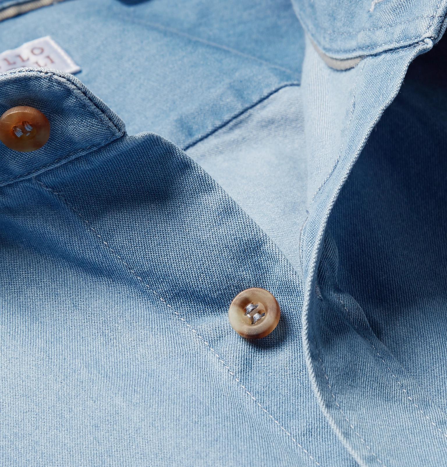 1ed3a0a491 Lyst - Brunello Cucinelli Slim-fit Cutaway-collar Washed-denim Shirt ...