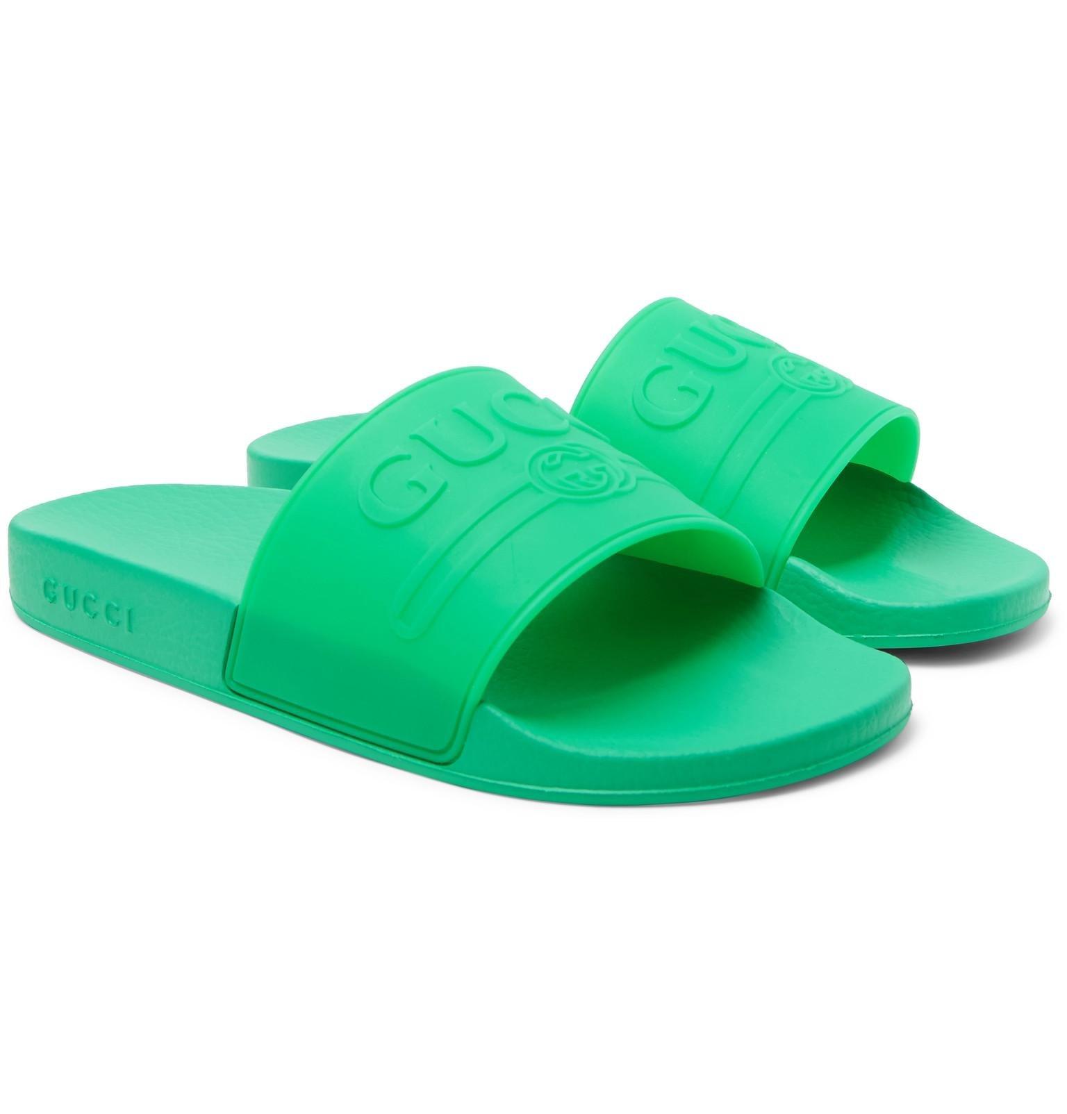 5d9ba29eab356 Gucci Pursuit Rubber Slides in Green for Men - Save 39% - Lyst