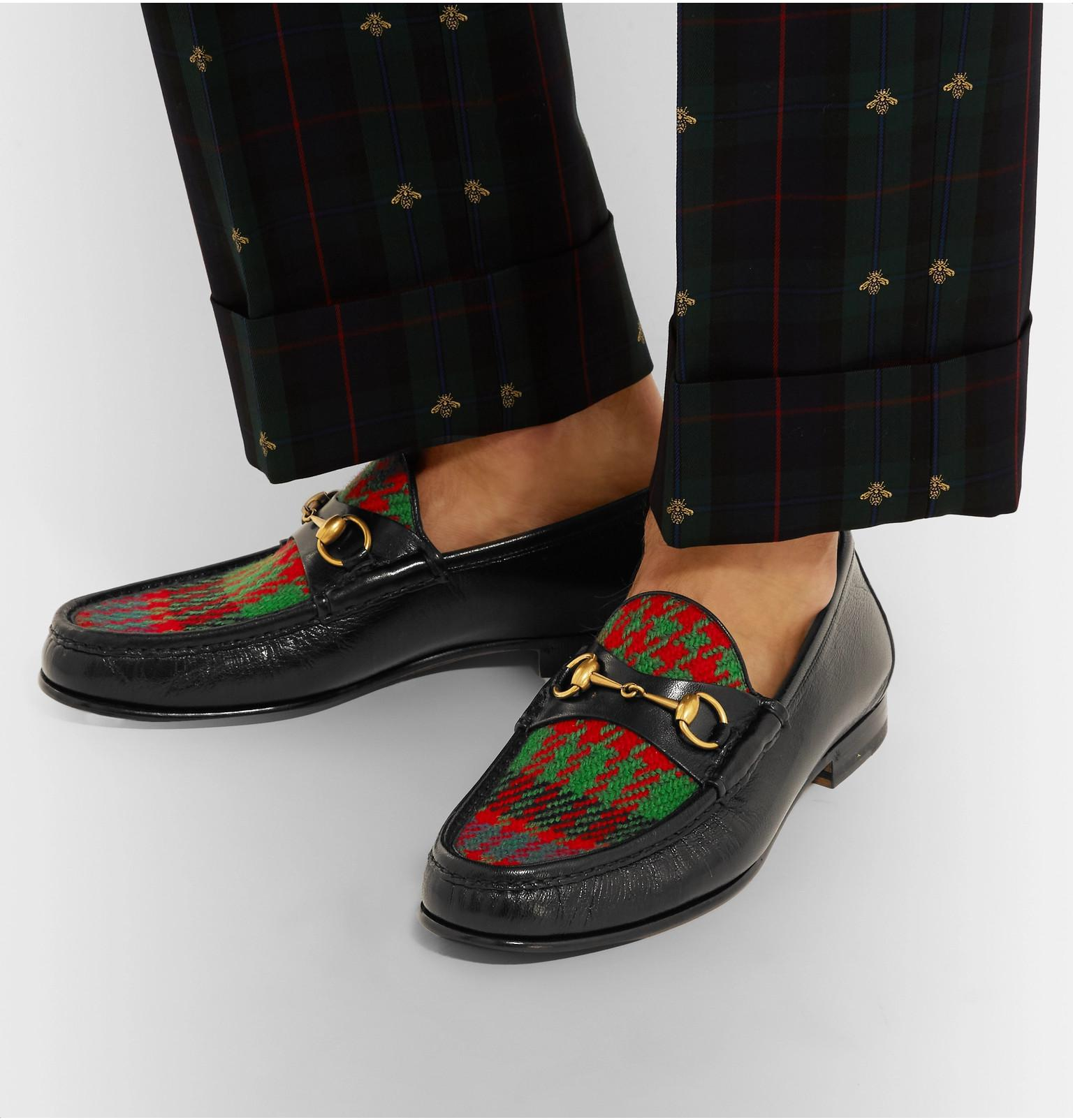 21838f589 Gucci - Black Roos Horsebit Embroidered Leather And Checked Tweed Loafers  for Men - Lyst. View fullscreen
