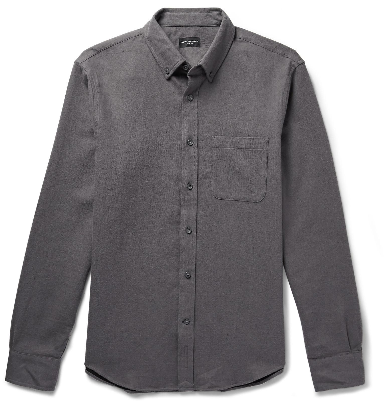 28d8eeaaf06 Club Monaco - Gray Slim-fit Button-down Collar Double-faced Cotton Shirt.  View fullscreen