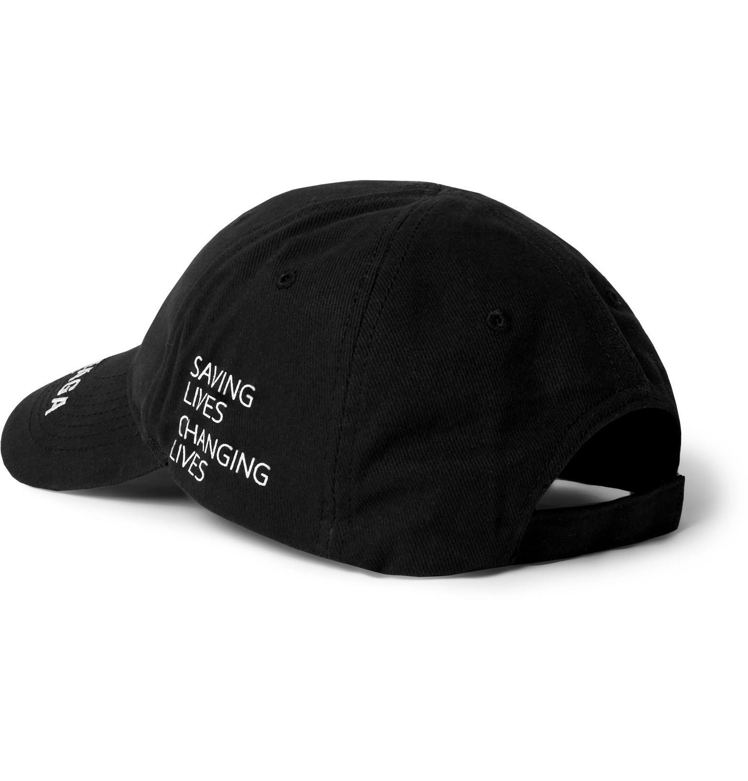 1013c376e81 Balenciaga - Black X World Food Programme Logo Embroidered Baseball Cap for  Men - Lyst