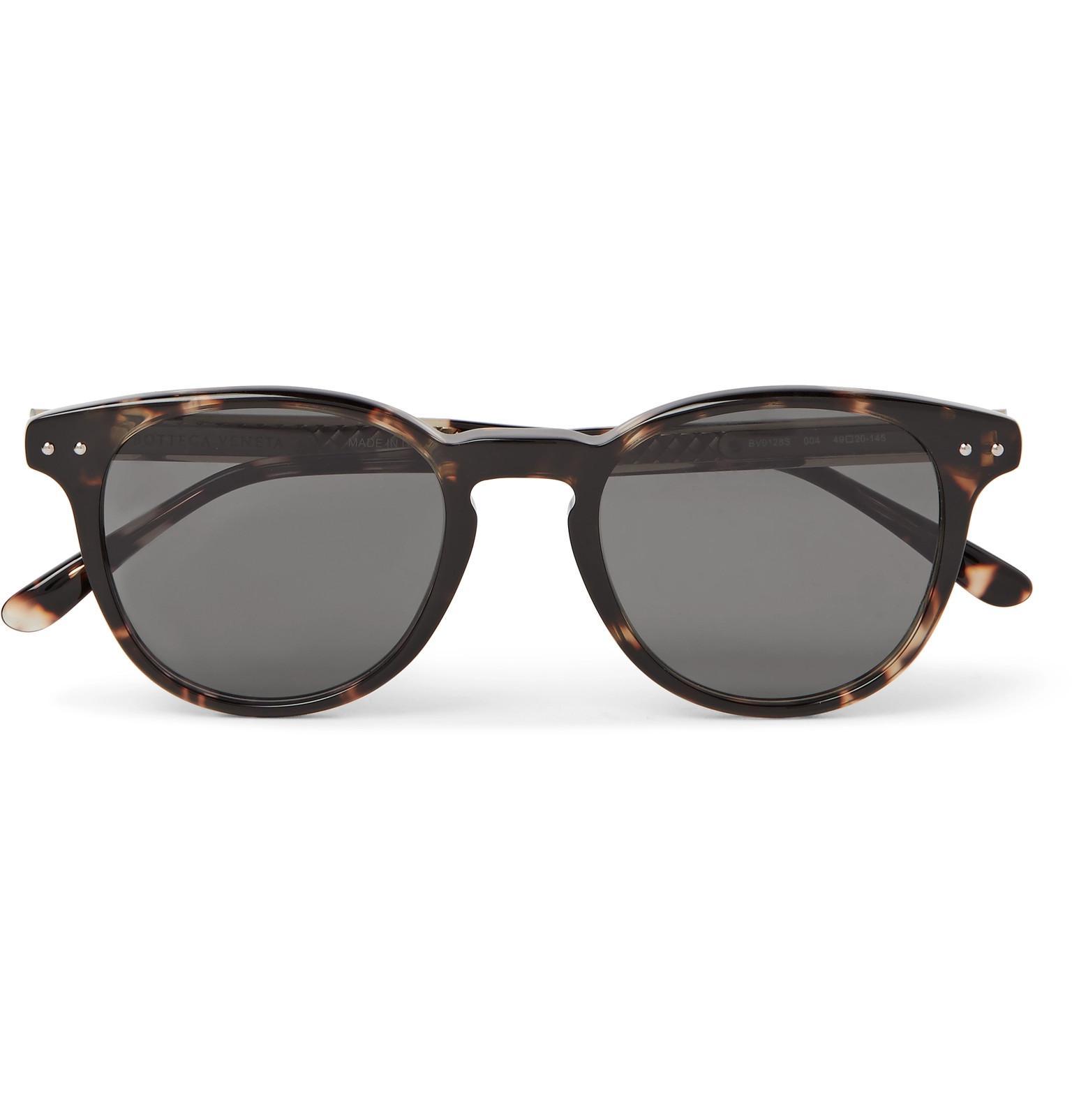 2ebb88d4f2f1 Lyst - Bottega Veneta Round-frame Tortoiseshell Acetate Sunglasses ...