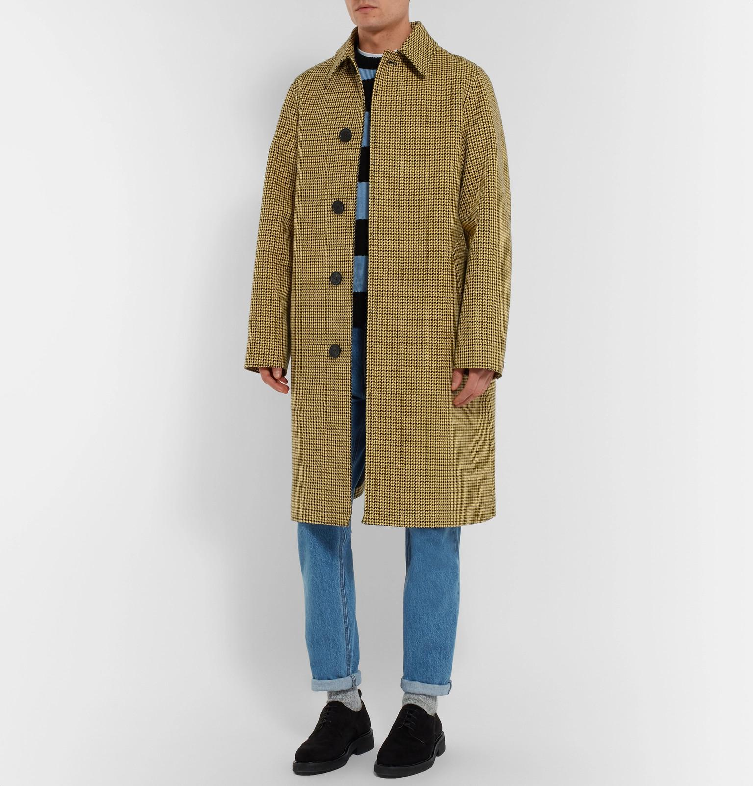 Wool Cotton Yellow And View Men Fullscreen Lyst Coat Oversized Ami Blend Virgin Houndstooth For wI4TYq