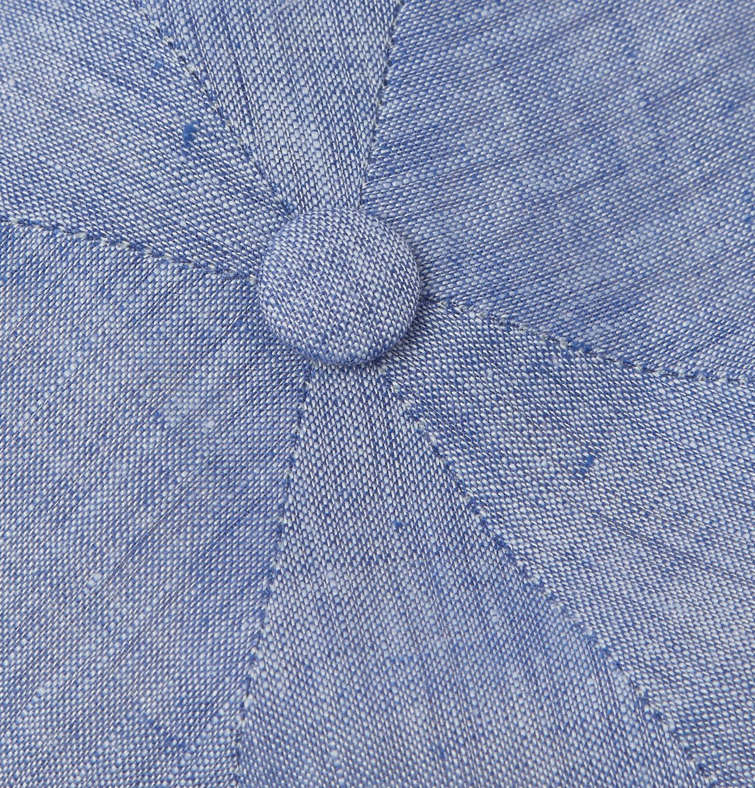 3fdce30845a Lyst - Lock   Co. Reverb Linen-chambray Flat Cap in Blue for Men