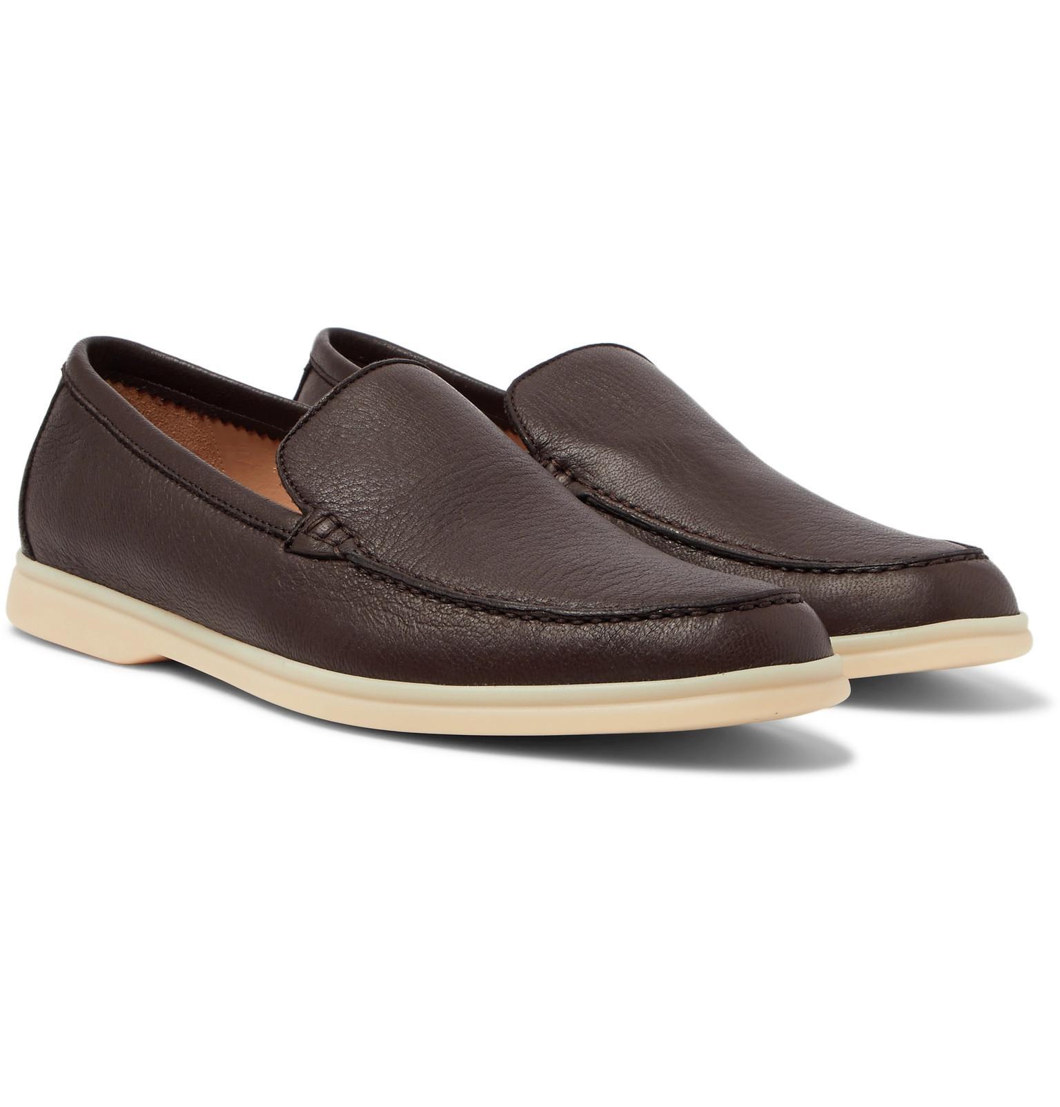 6eecfdc7422 Loro Piana Summer Walk Full-grain Leather Loafers in Brown for Men ...